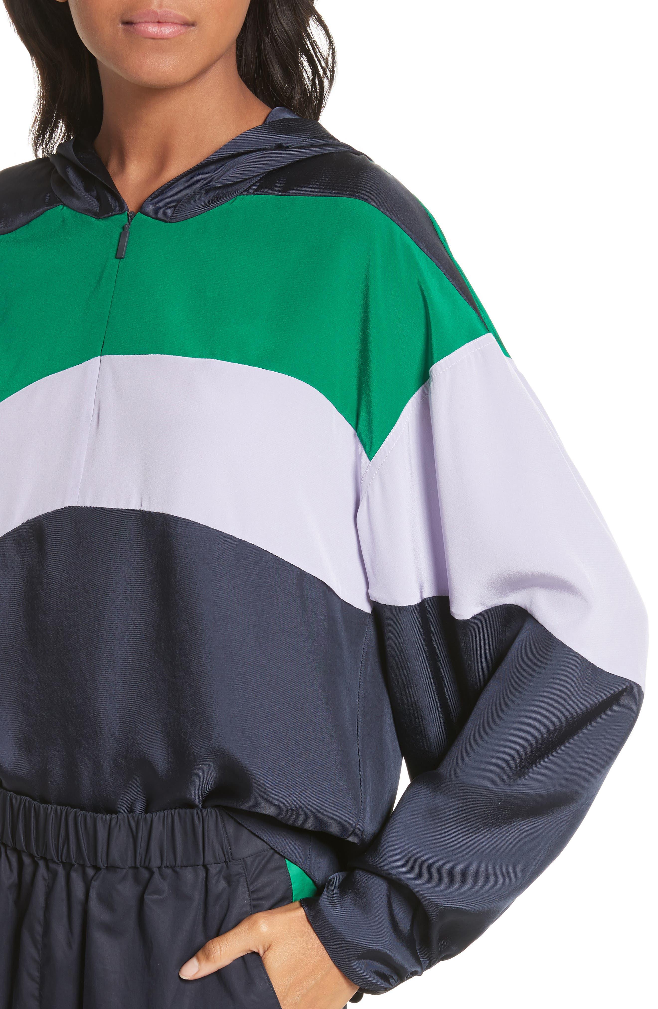 Hooded Jacket,                             Alternate thumbnail 4, color,                             Navy Multi