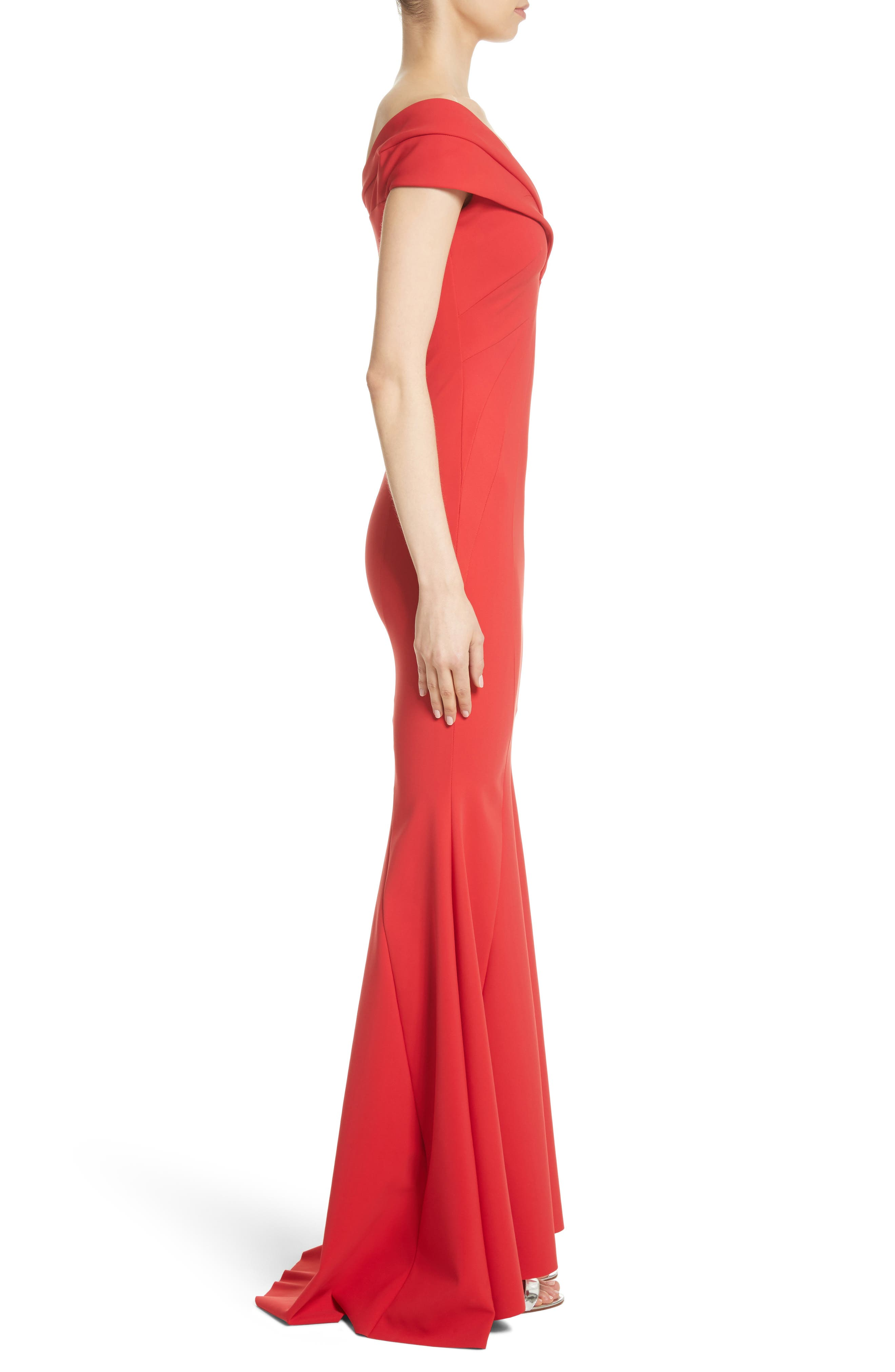 Tally Off the Shoulder Trumpet Gown,                             Alternate thumbnail 3, color,                             Passion/ Red