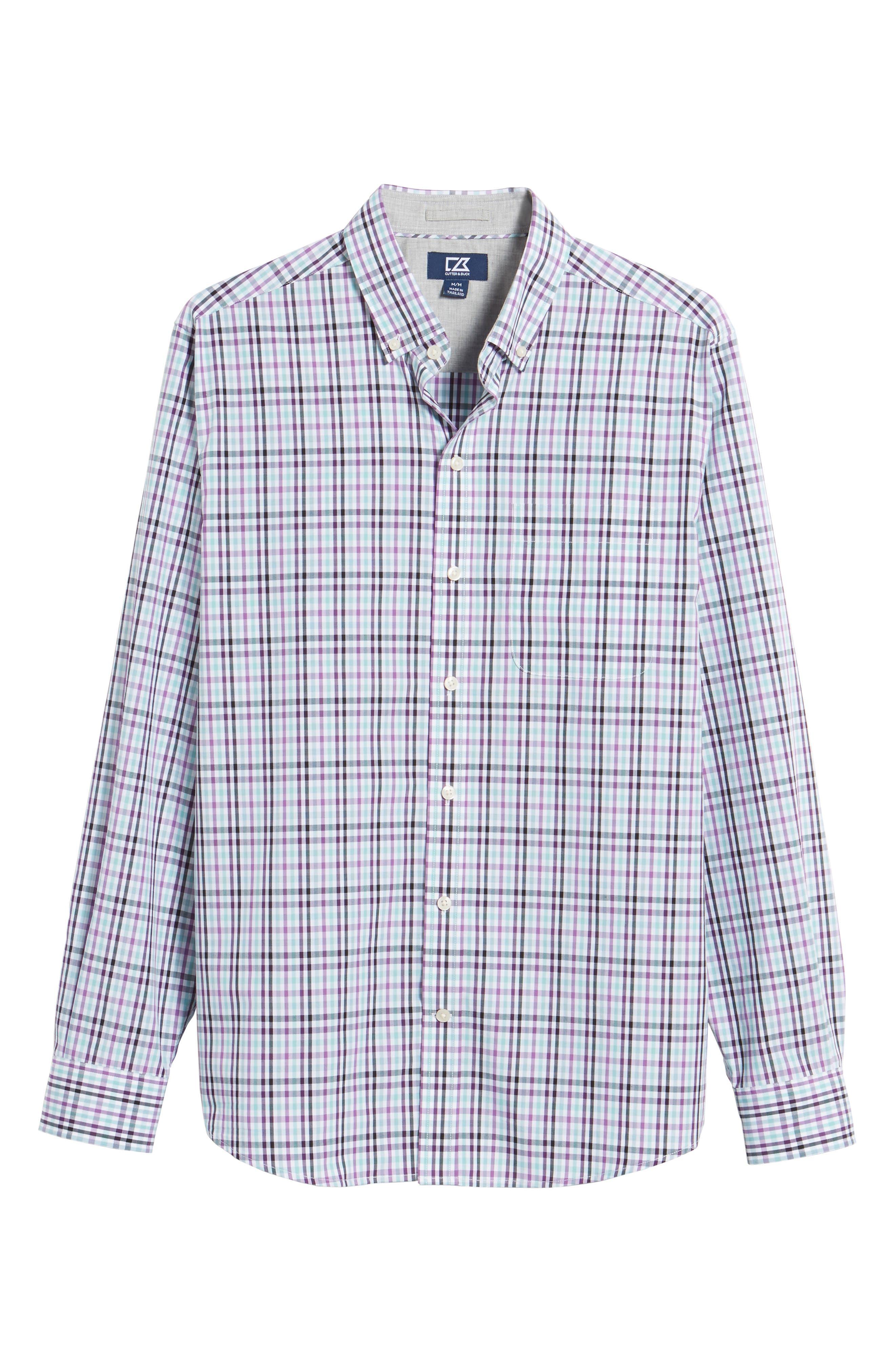 Irving Non-Iron Plaid Sport Shirt,                             Alternate thumbnail 6, color,                             Majesty