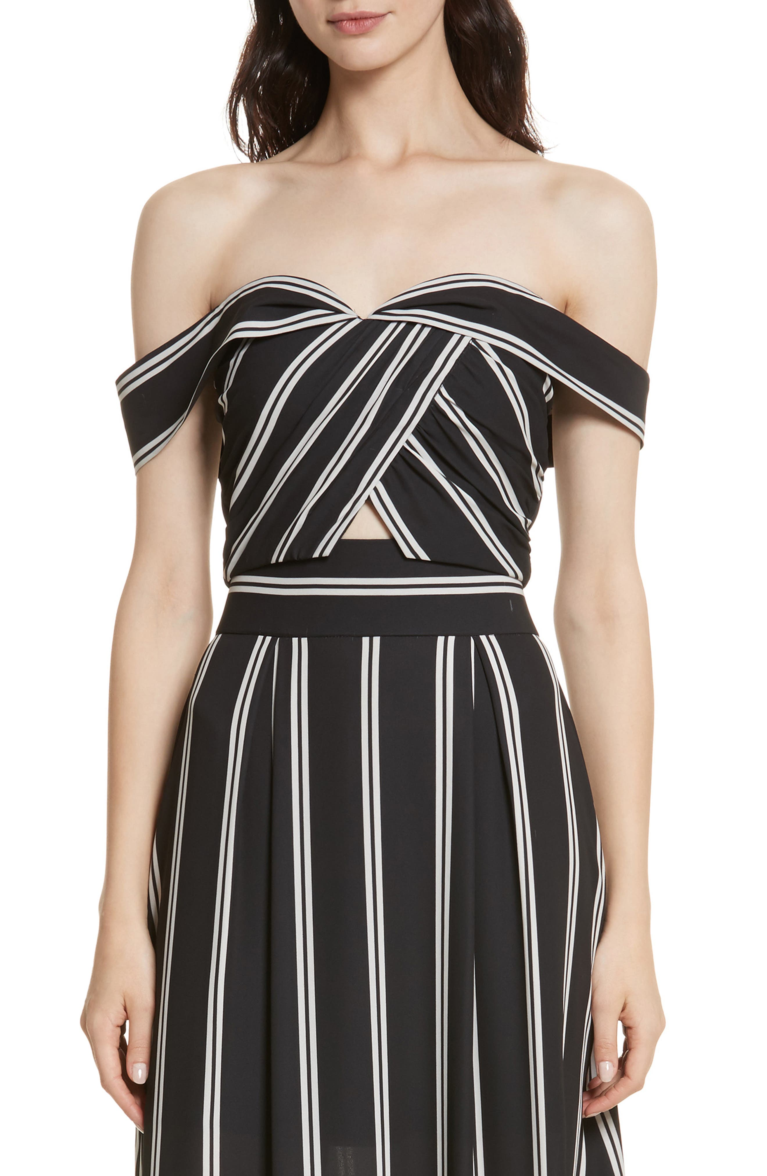 Main Image - Alice + Olivia Annalyn Off the Shoulder Crop Top