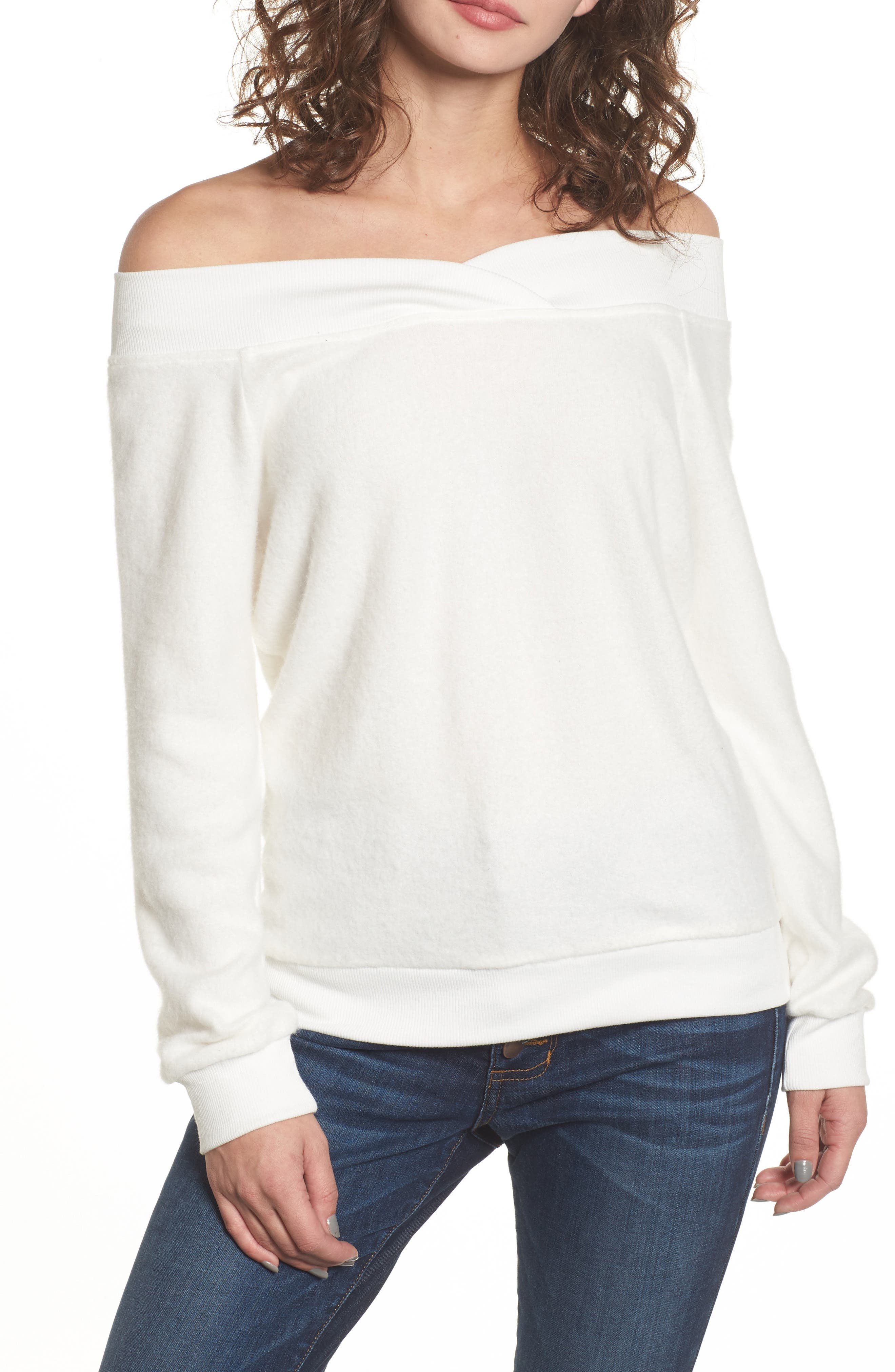 Alternate Image 1 Selected - Socialite Off the Shoulder Fleece Top