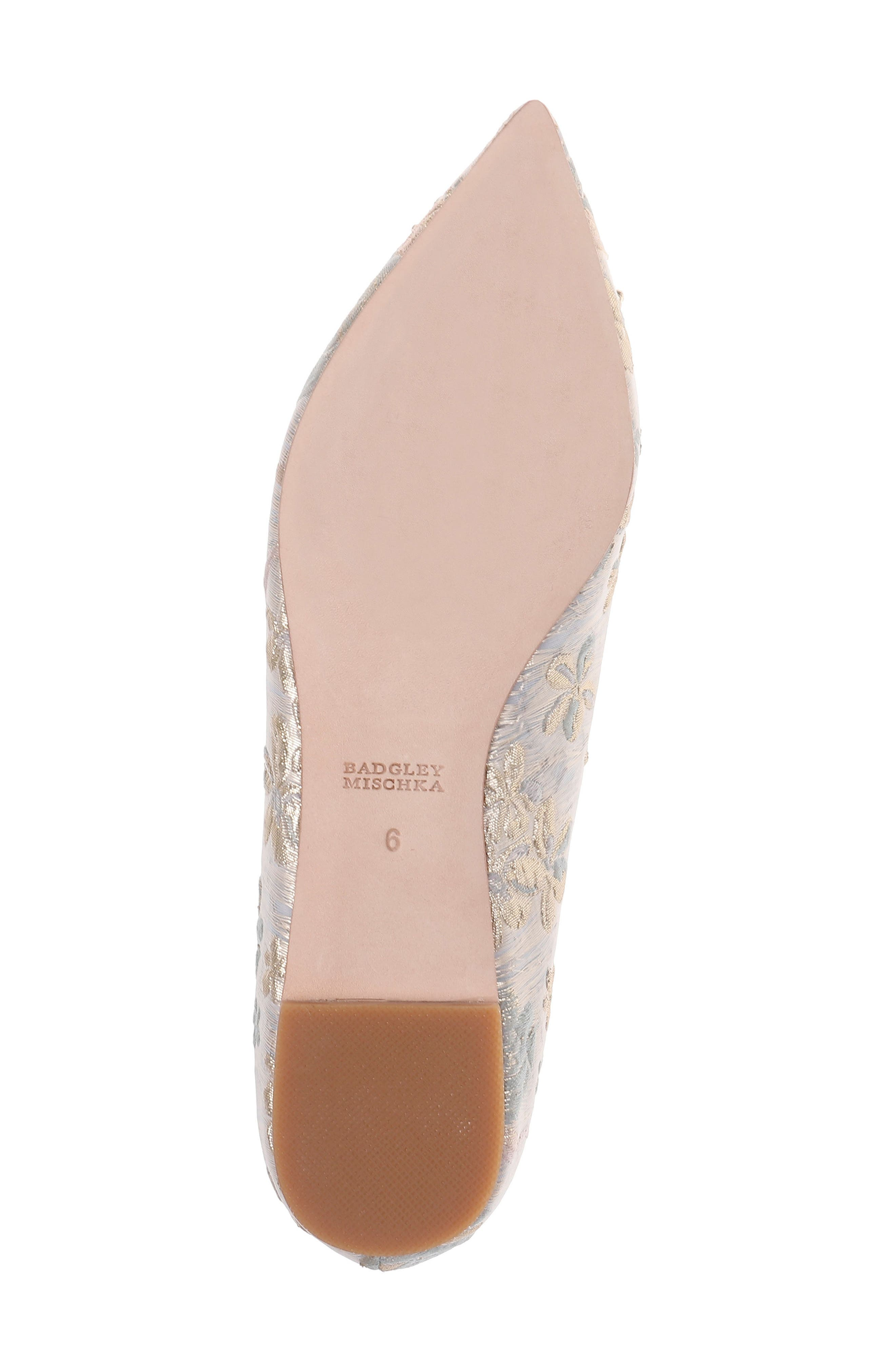 'Davis' Crystal Embellished Pointy Toe Flat,                             Alternate thumbnail 6, color,                             Platino Brocade Fabric