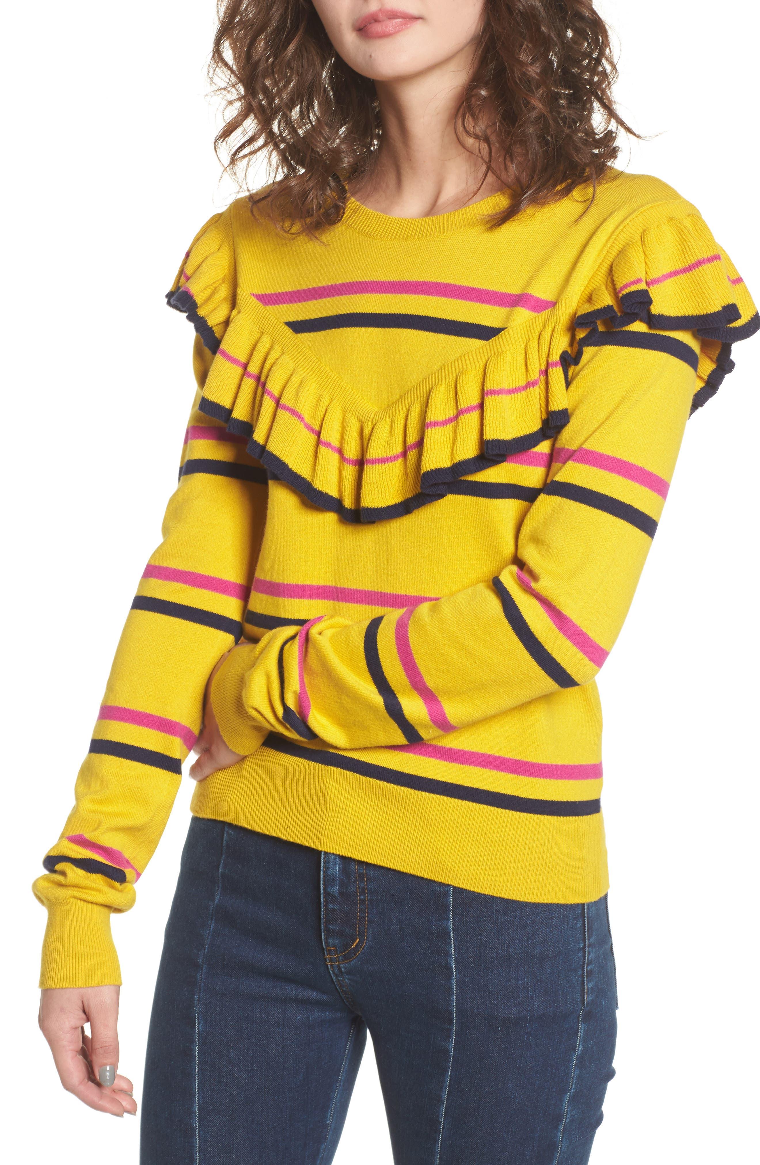 Ruffle Yoke Sweater,                             Main thumbnail 1, color,                             Yellow Sulfur Margret Stripe