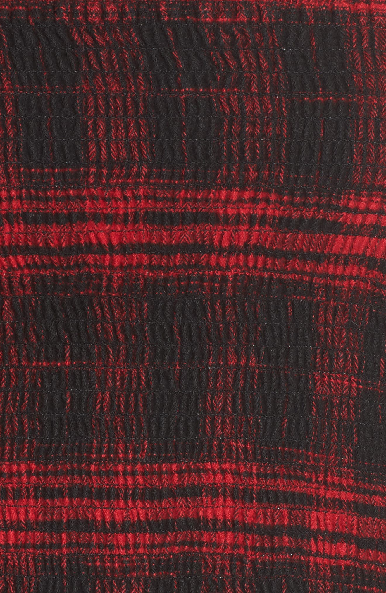 Smocked Crop Top,                             Alternate thumbnail 5, color,                             Red Flannel