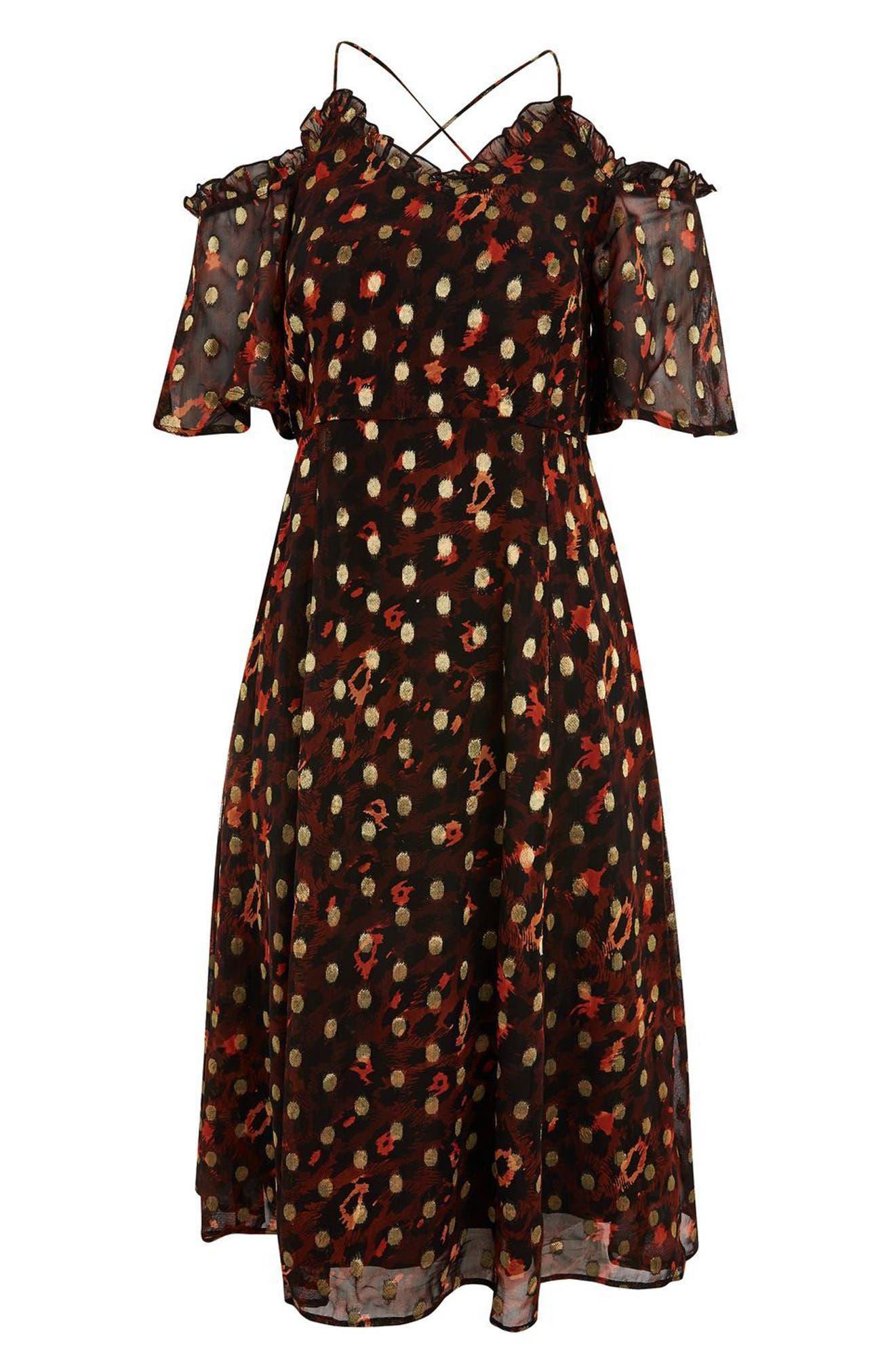 Leopard Polka Dot Cold Shoulder Dress,                             Alternate thumbnail 4, color,                             Red Multi