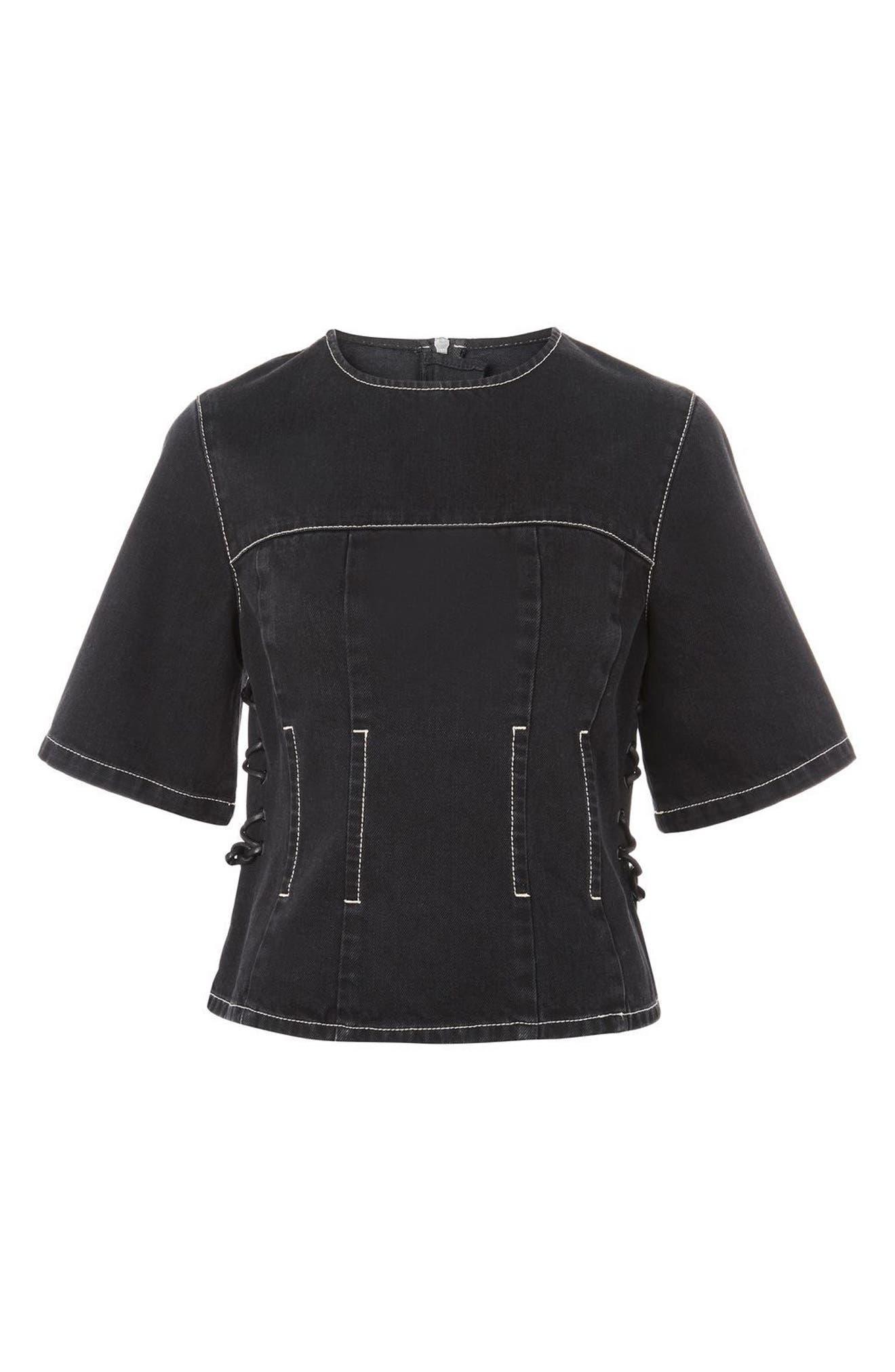 Lace-Up Side Denim Top,                         Main,                         color, Black