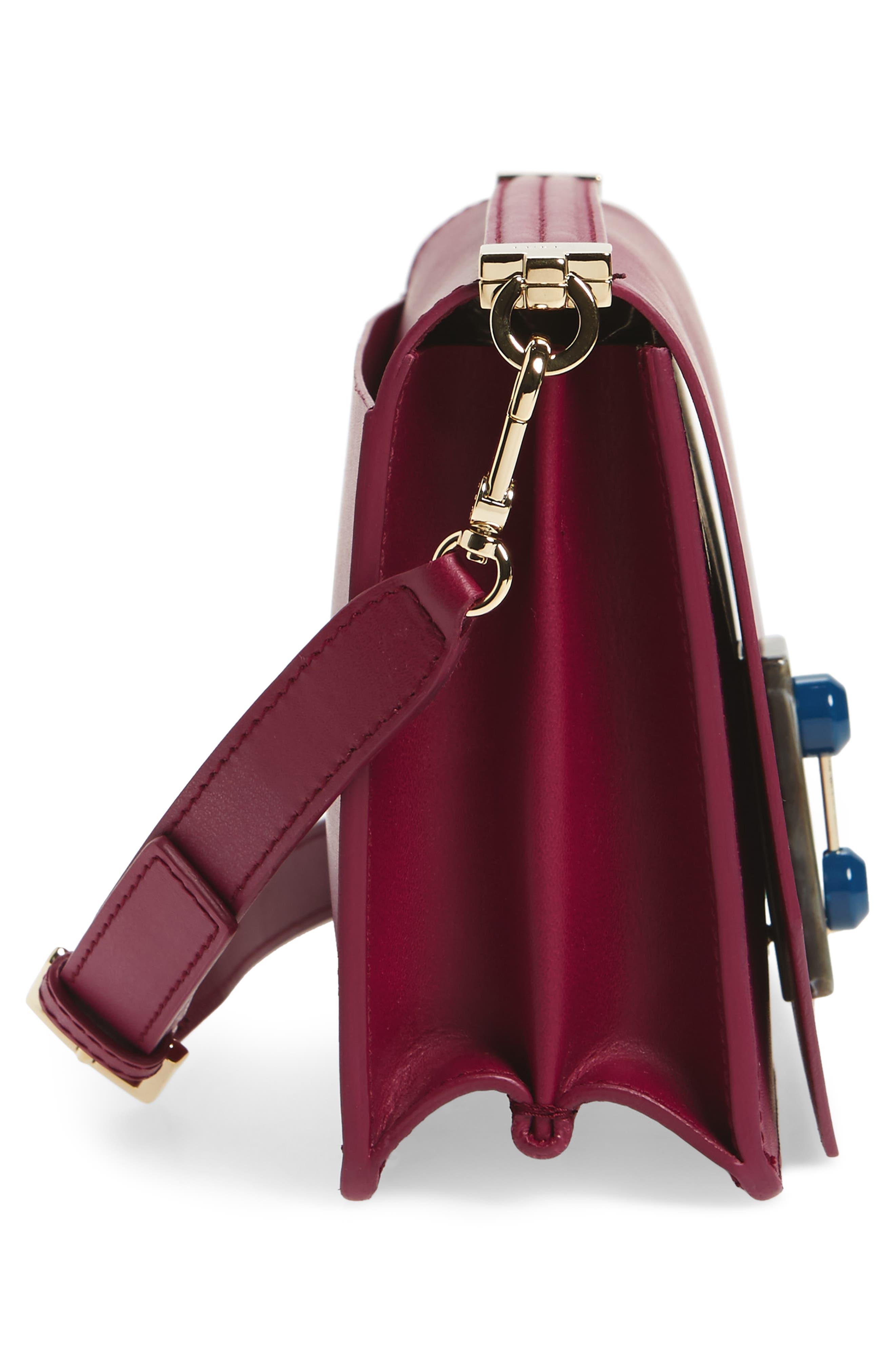 Snap Leather Shoulder Bag,                             Alternate thumbnail 5, color,                             Amarena