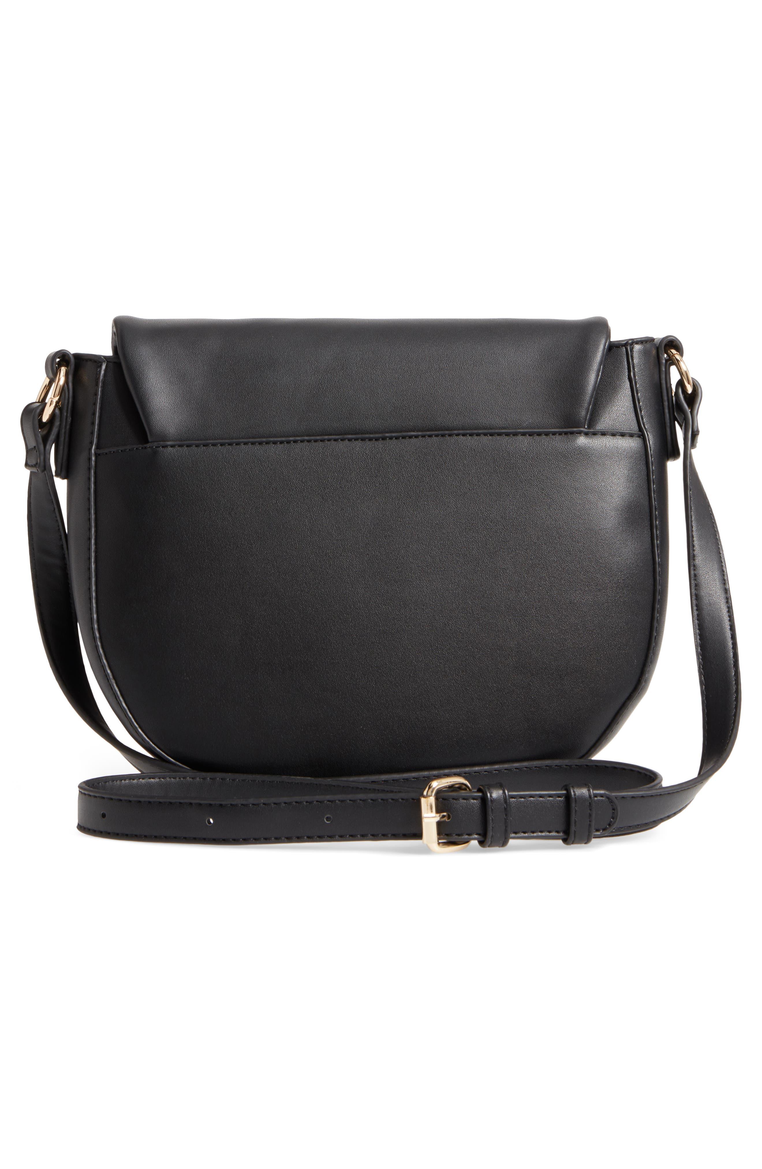 Adden Faux Leather Crossbody Bag,                             Alternate thumbnail 3, color,                             Black
