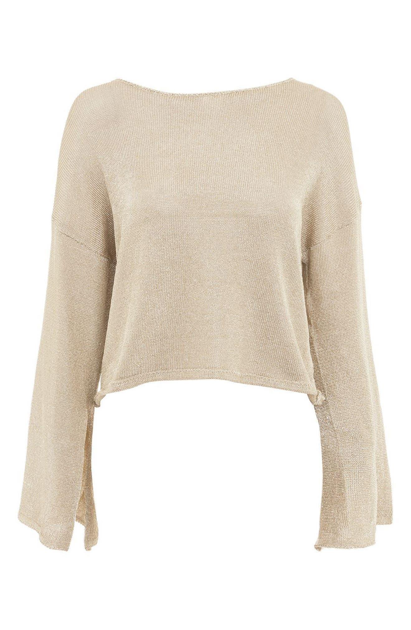 Metallic Flute Sleeve Crop Sweater,                             Alternate thumbnail 4, color,                             Gold