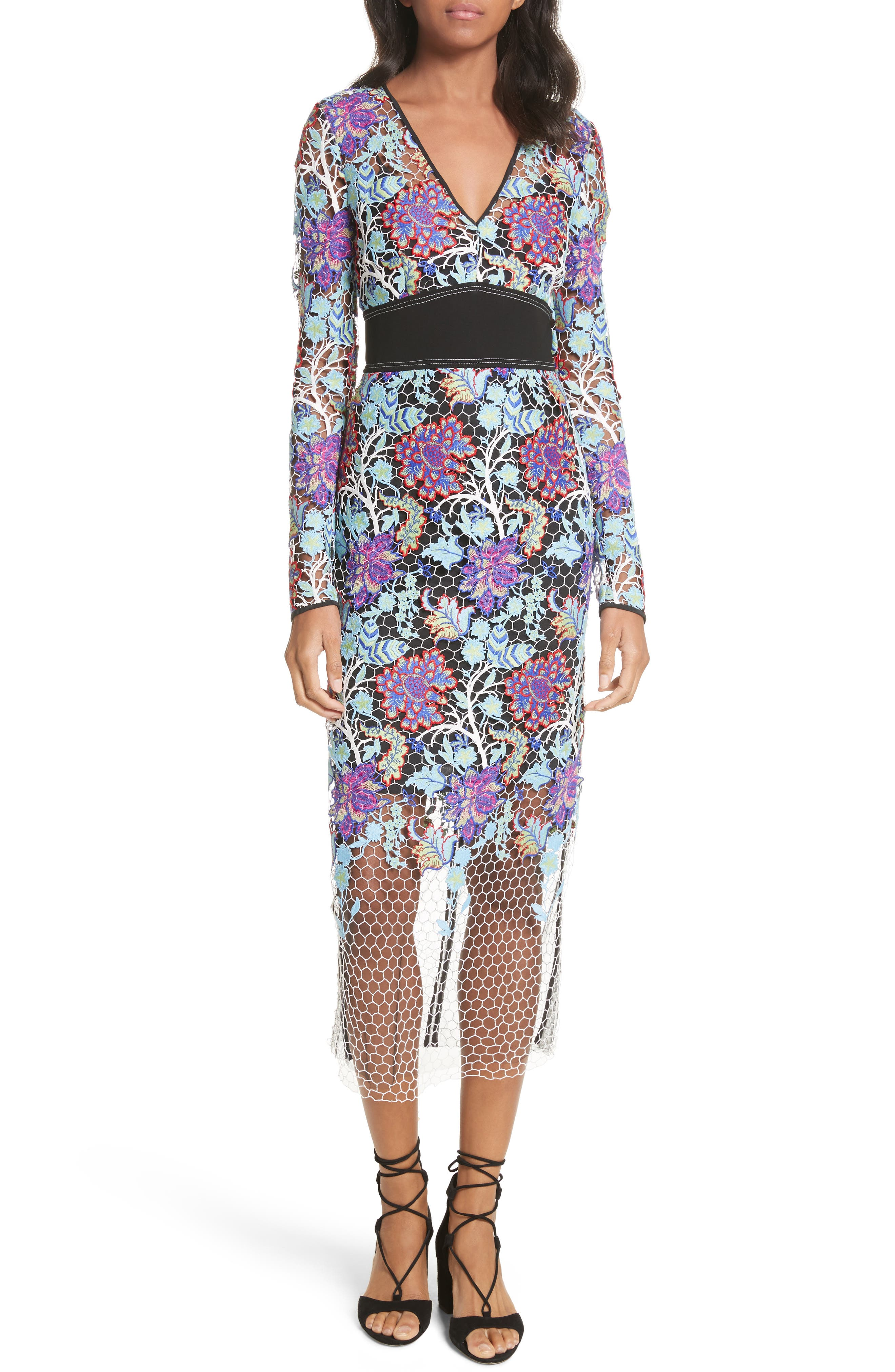 Banded Lace Overlay Dress,                         Main,                         color, Ivory Multi