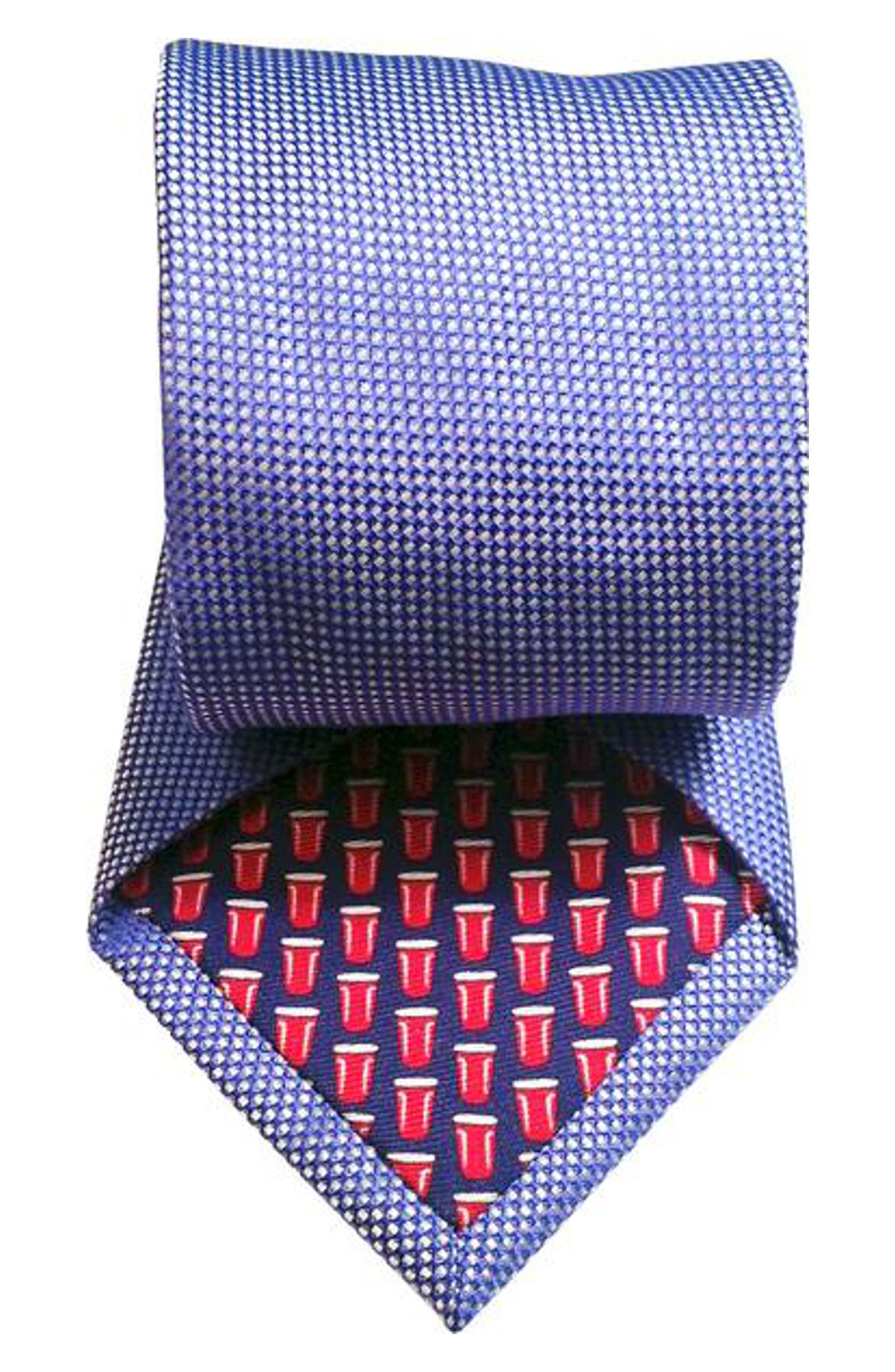 Mullet Silk Tie,                             Alternate thumbnail 2, color,                             Blue