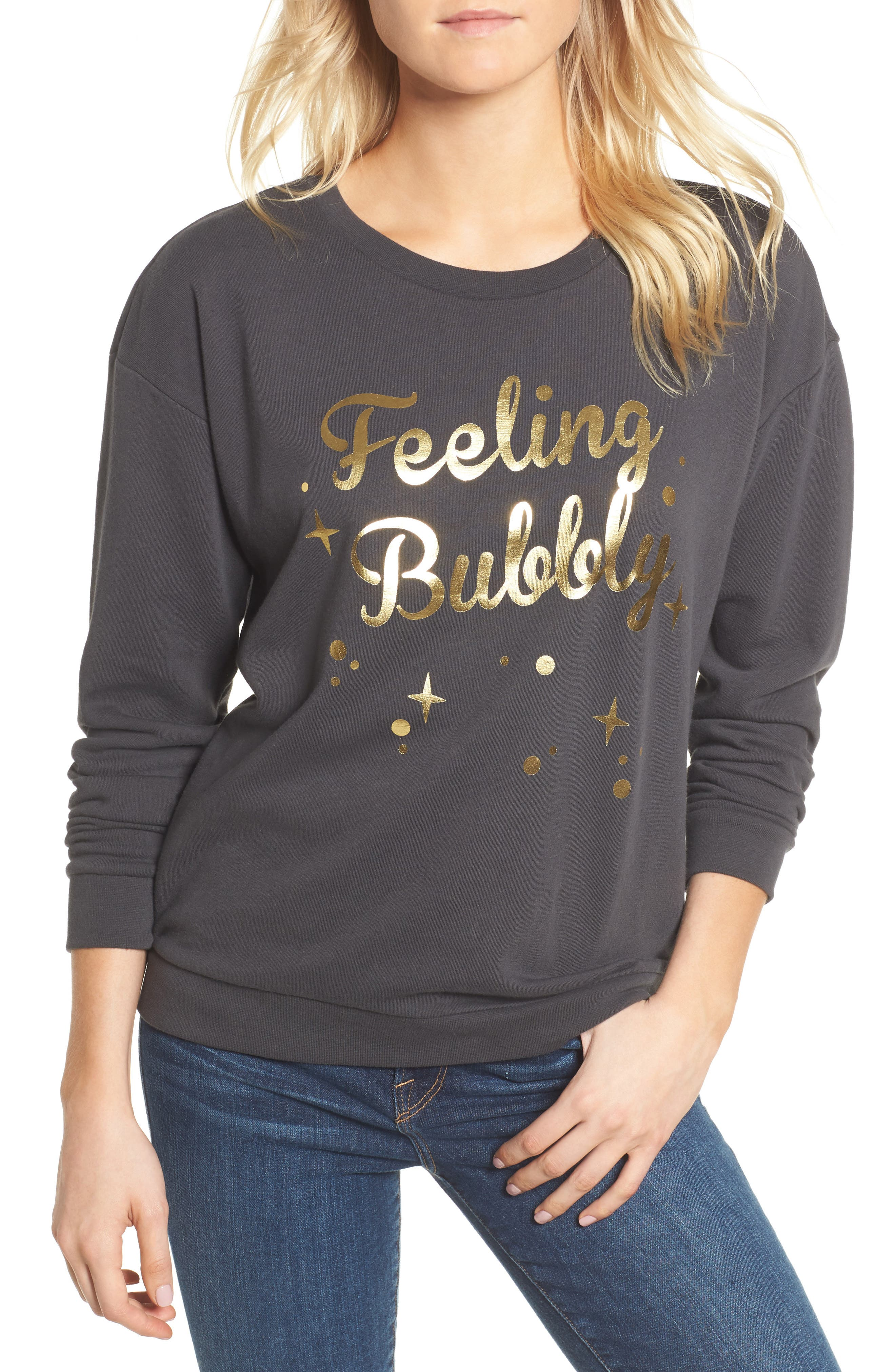 Feeling Bubbly Sweatshirt,                         Main,                         color, Black