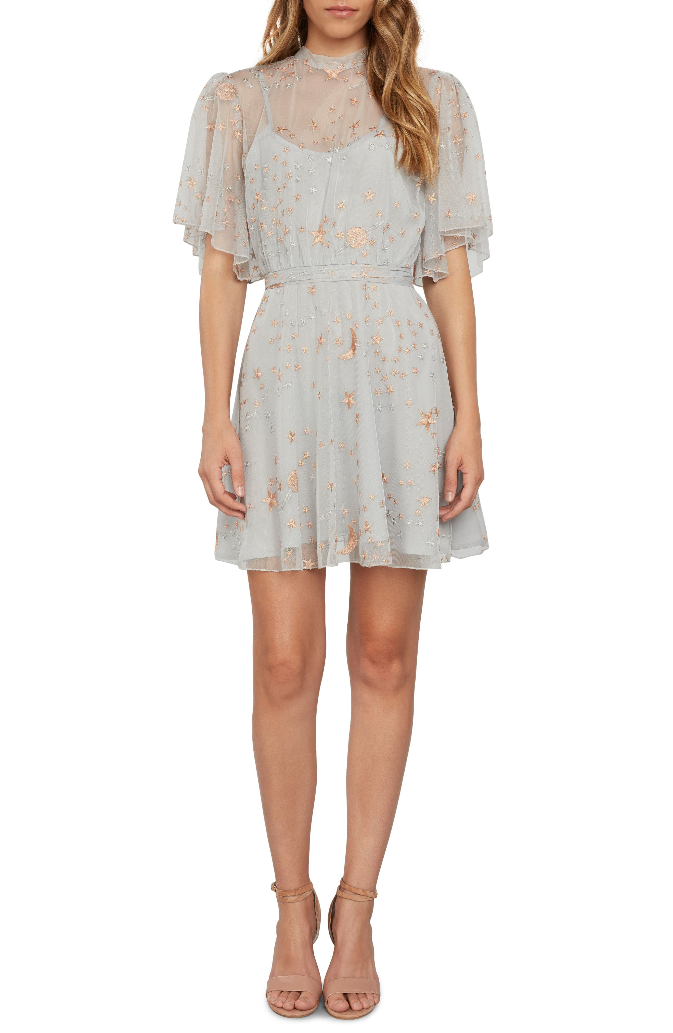 Embroidered Minidress,                         Main,                         color, Silver
