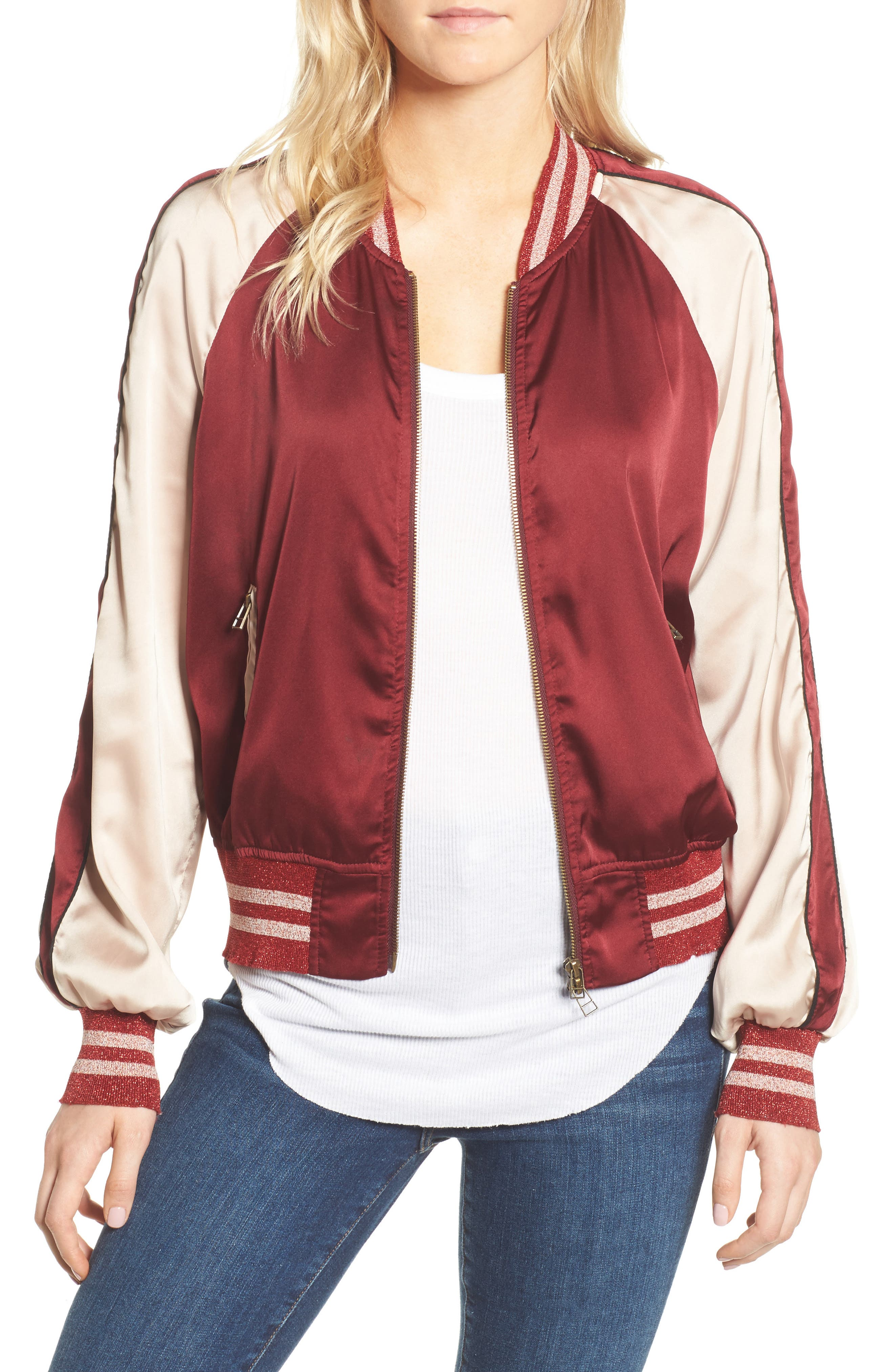 Los Feliz Tigers Bomber Jacket,                         Main,                         color, Maroon