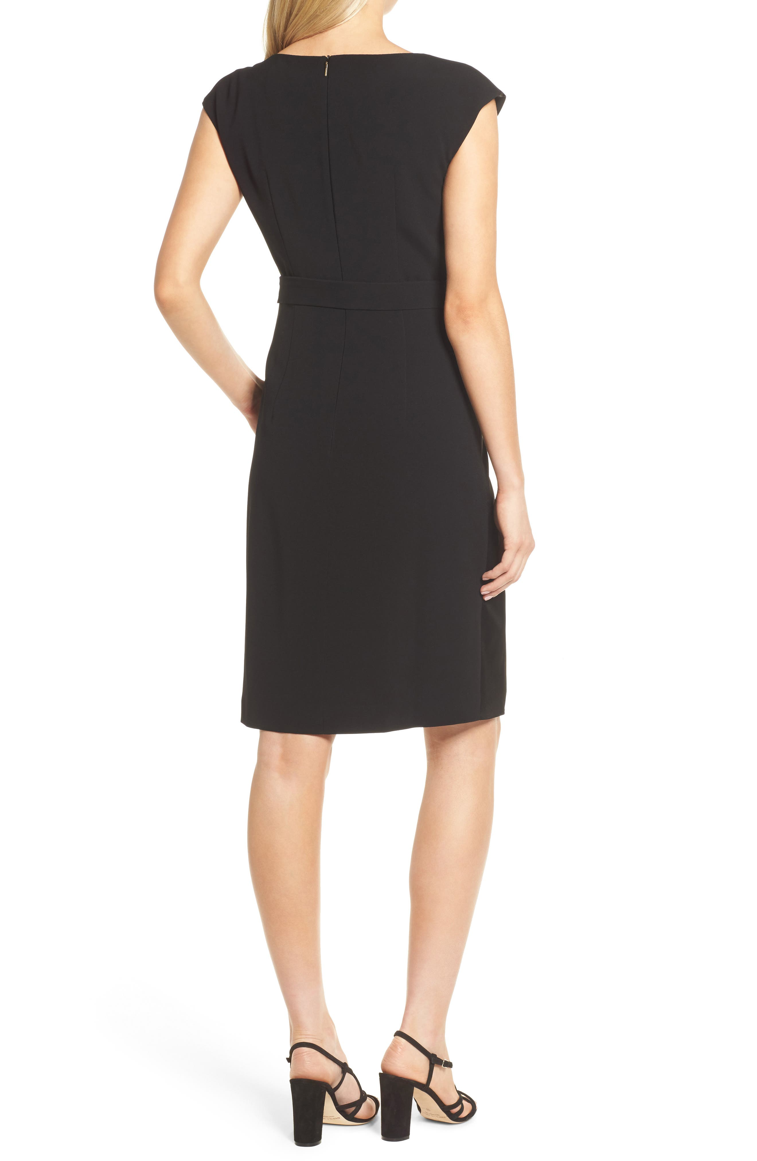 Drapena Faux Wrap Sheath Dress,                             Alternate thumbnail 2, color,                             Black