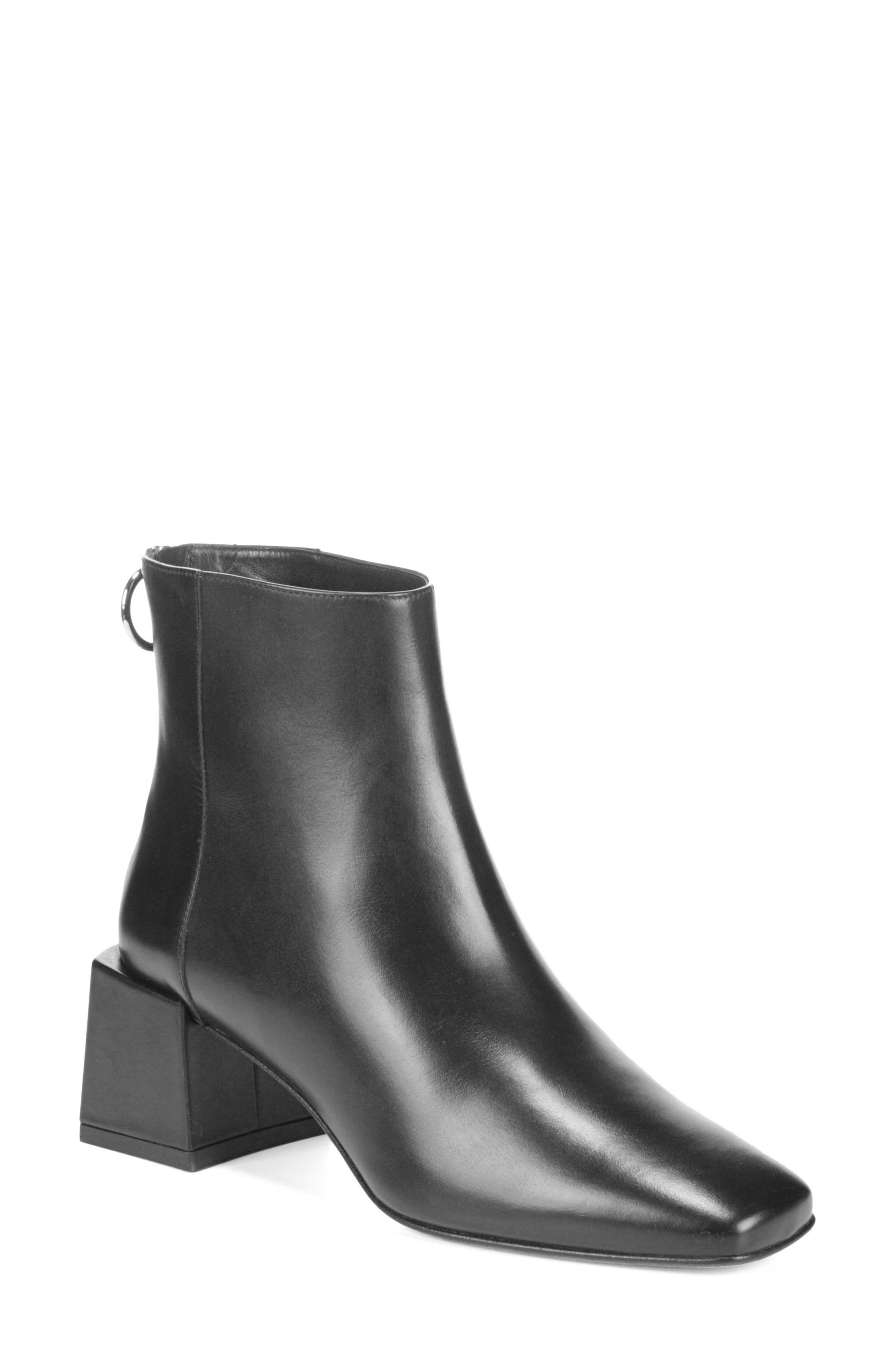 Lara Block Heel Bootie,                         Main,                         color, Black Leather