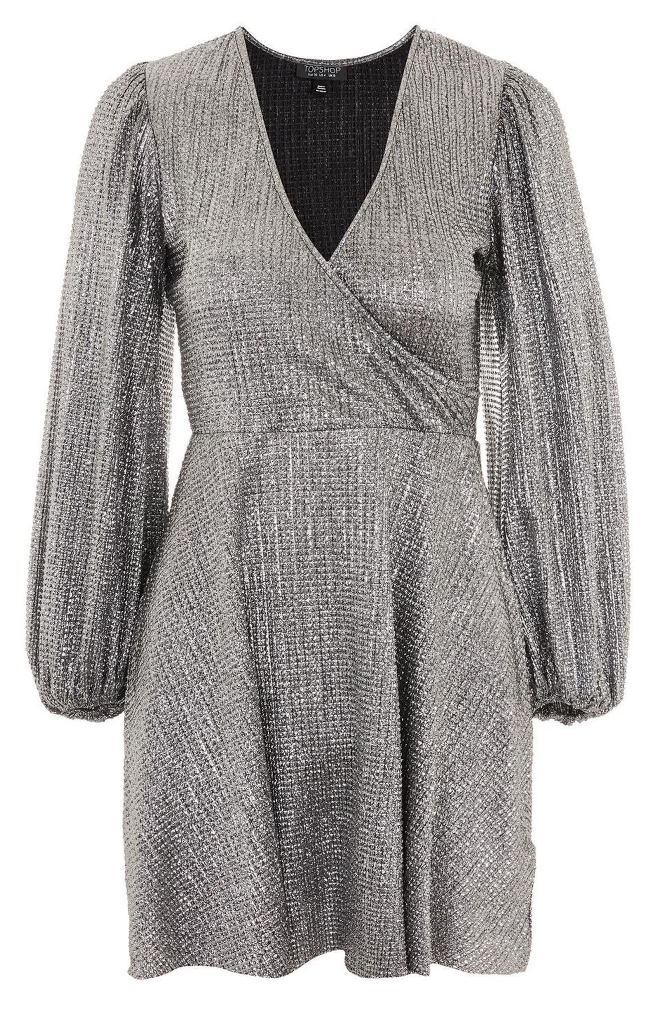 Metallic Plissé Surplice Dress,                             Alternate thumbnail 3, color,                             Silver
