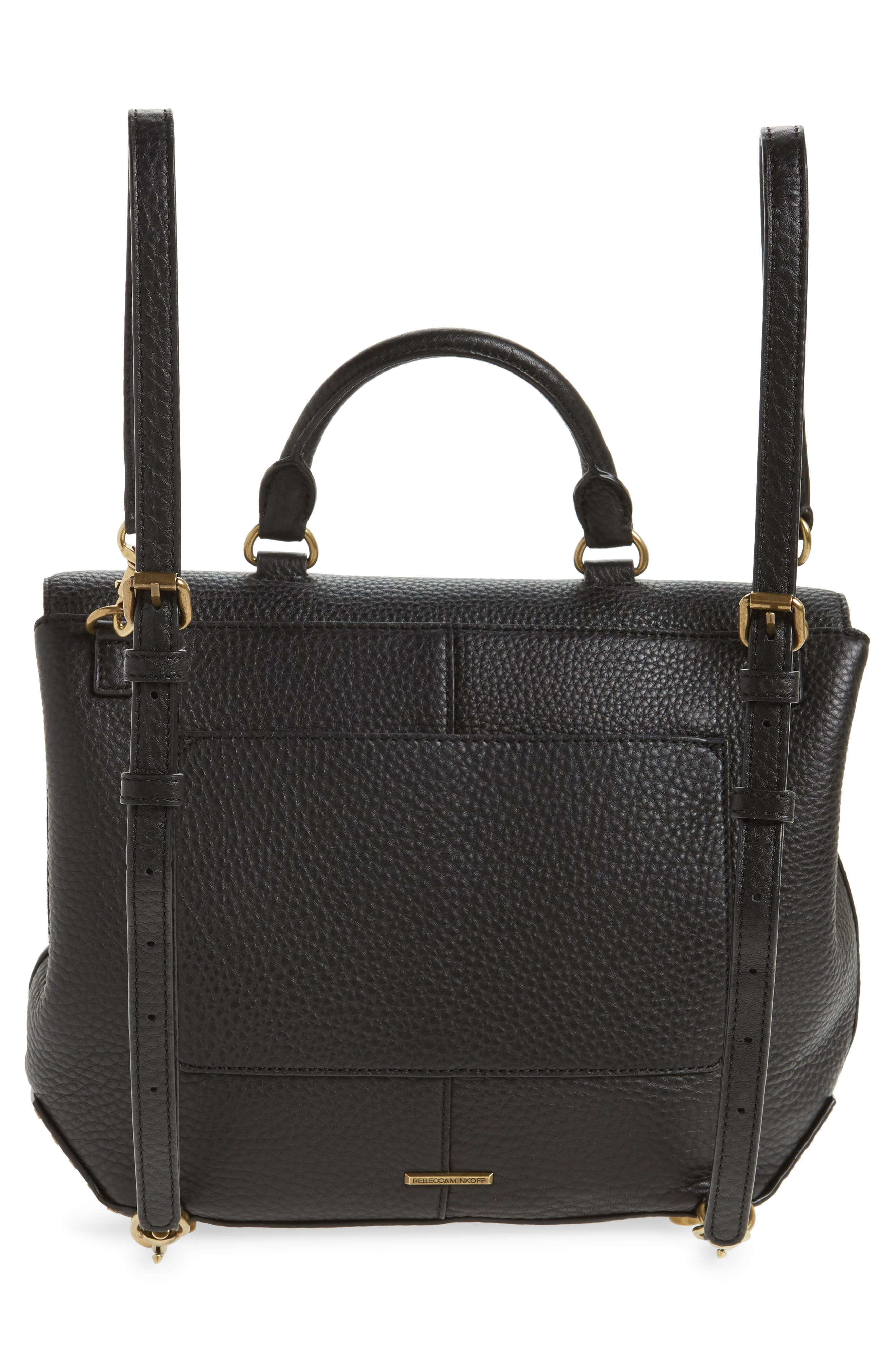 Darren Convertible Leather Backpack,                             Alternate thumbnail 4, color,                             Black