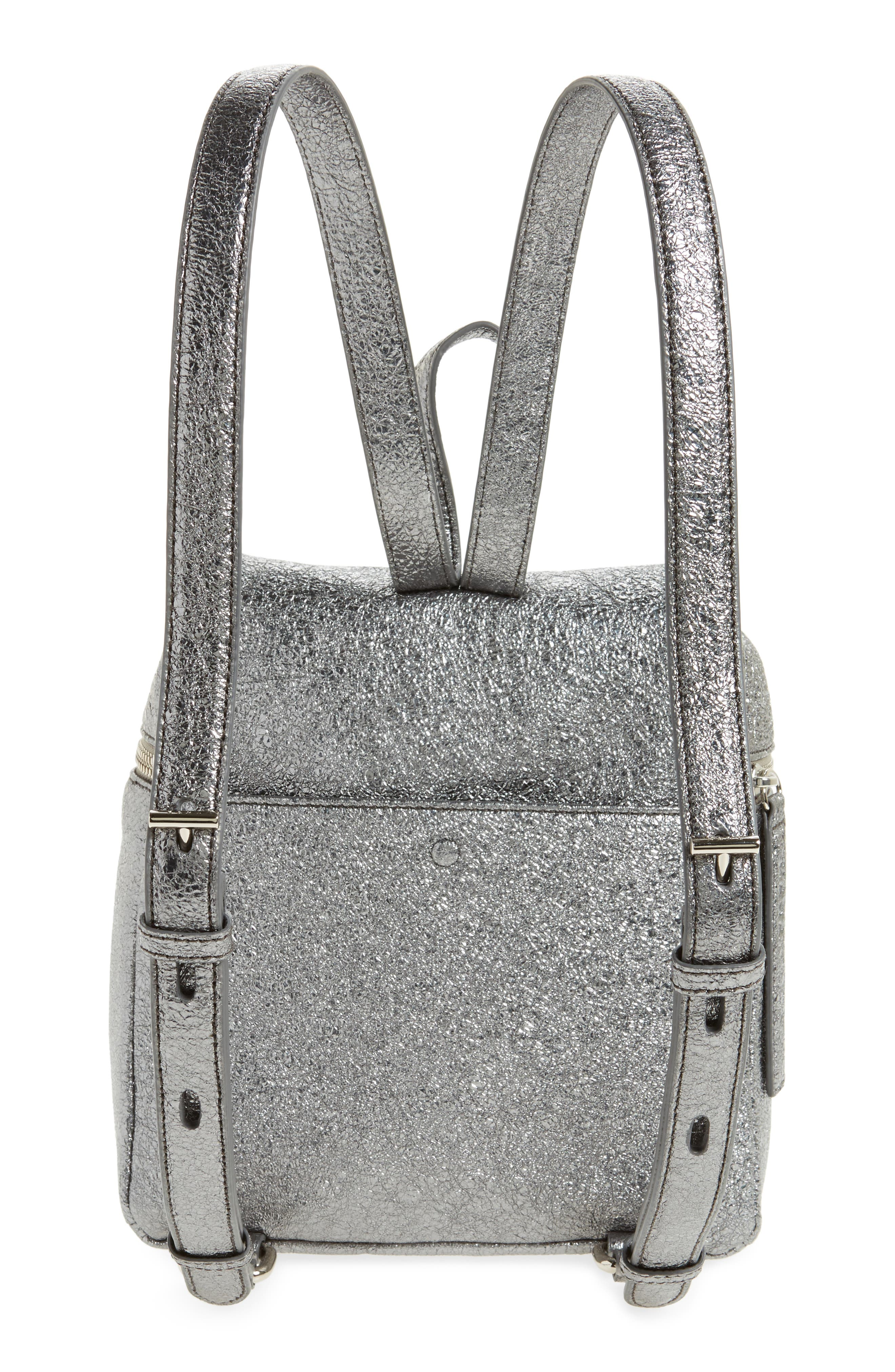 Small Crinkled Metallic Leather Backpack,                             Alternate thumbnail 3, color,                             Pyrite