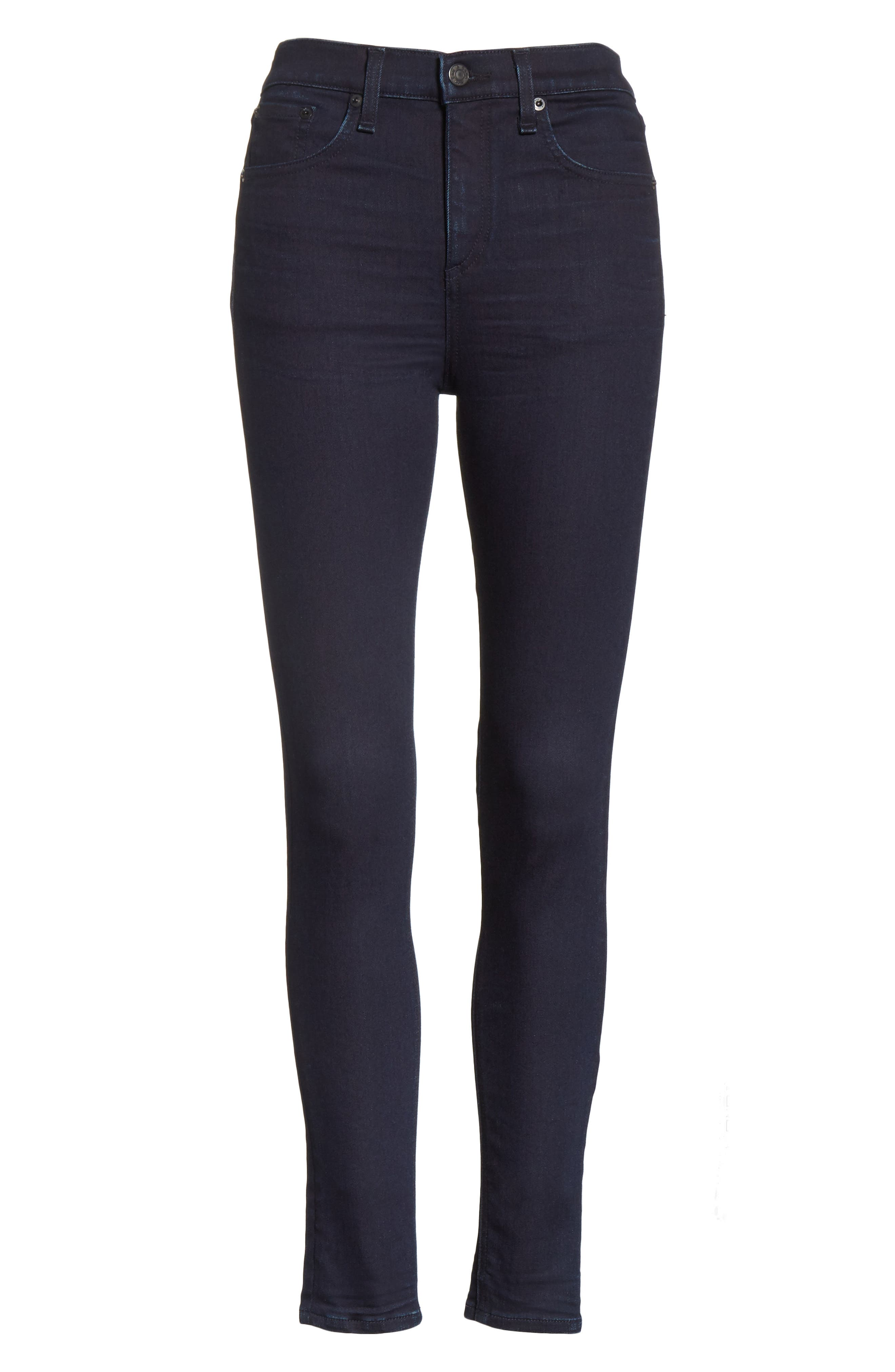 Alternate Image 6  - rag & bone/JEAN High Waist Ankle Skinny Jeans (Twilight)
