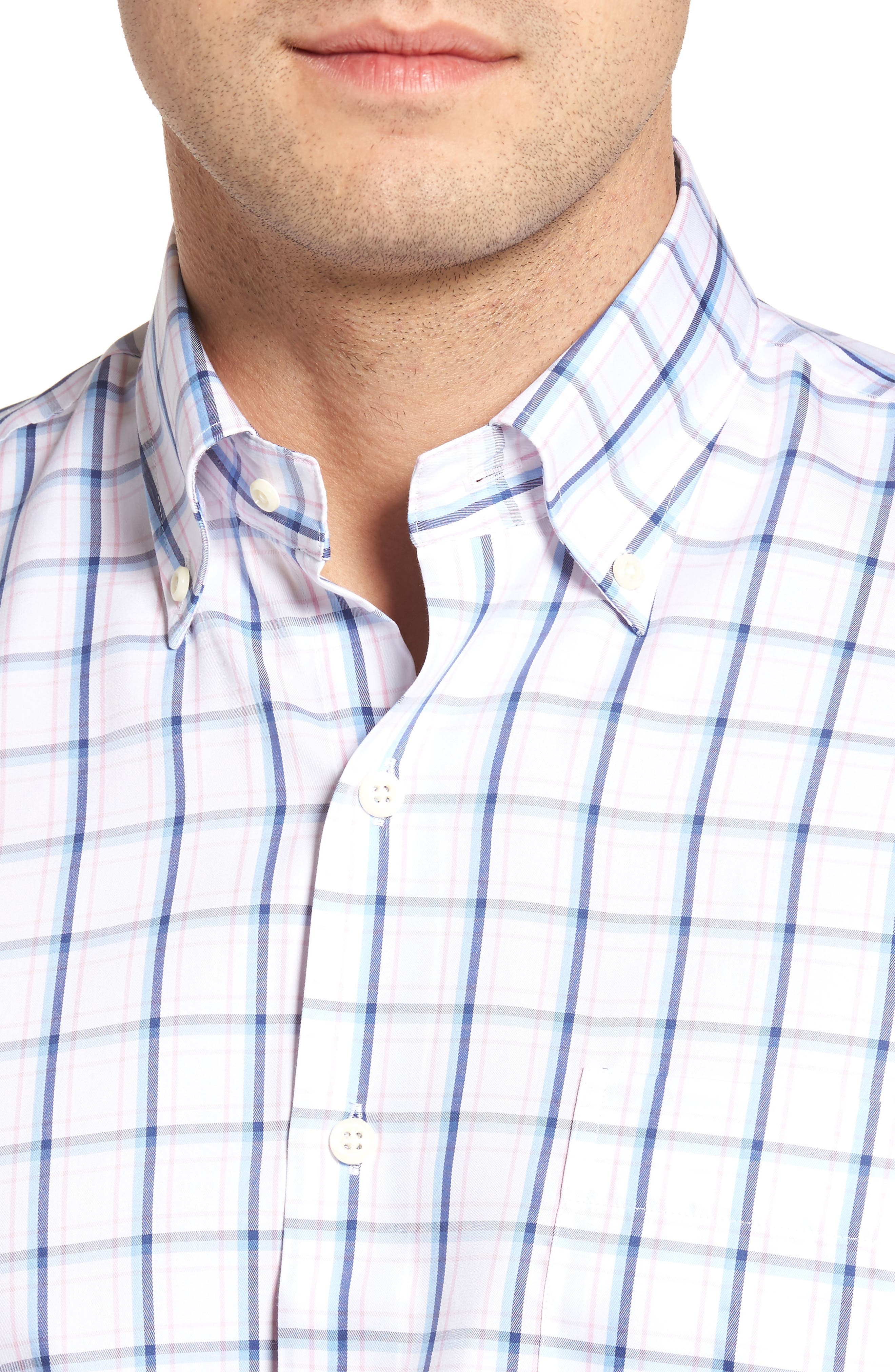 Crown Windowpane Sport Shirt,                             Alternate thumbnail 4, color,                             Tahoe Blue