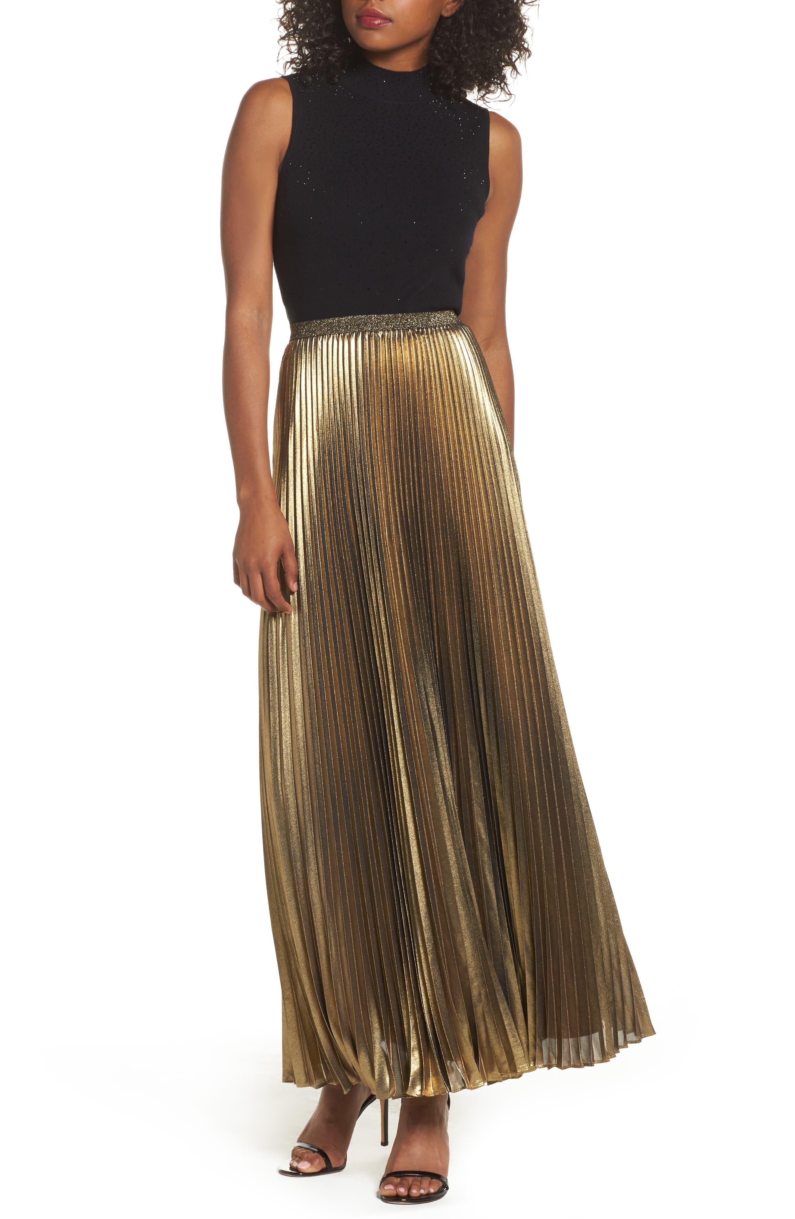Main Image - Eliza J Metallic Pleat Maxi Skirt