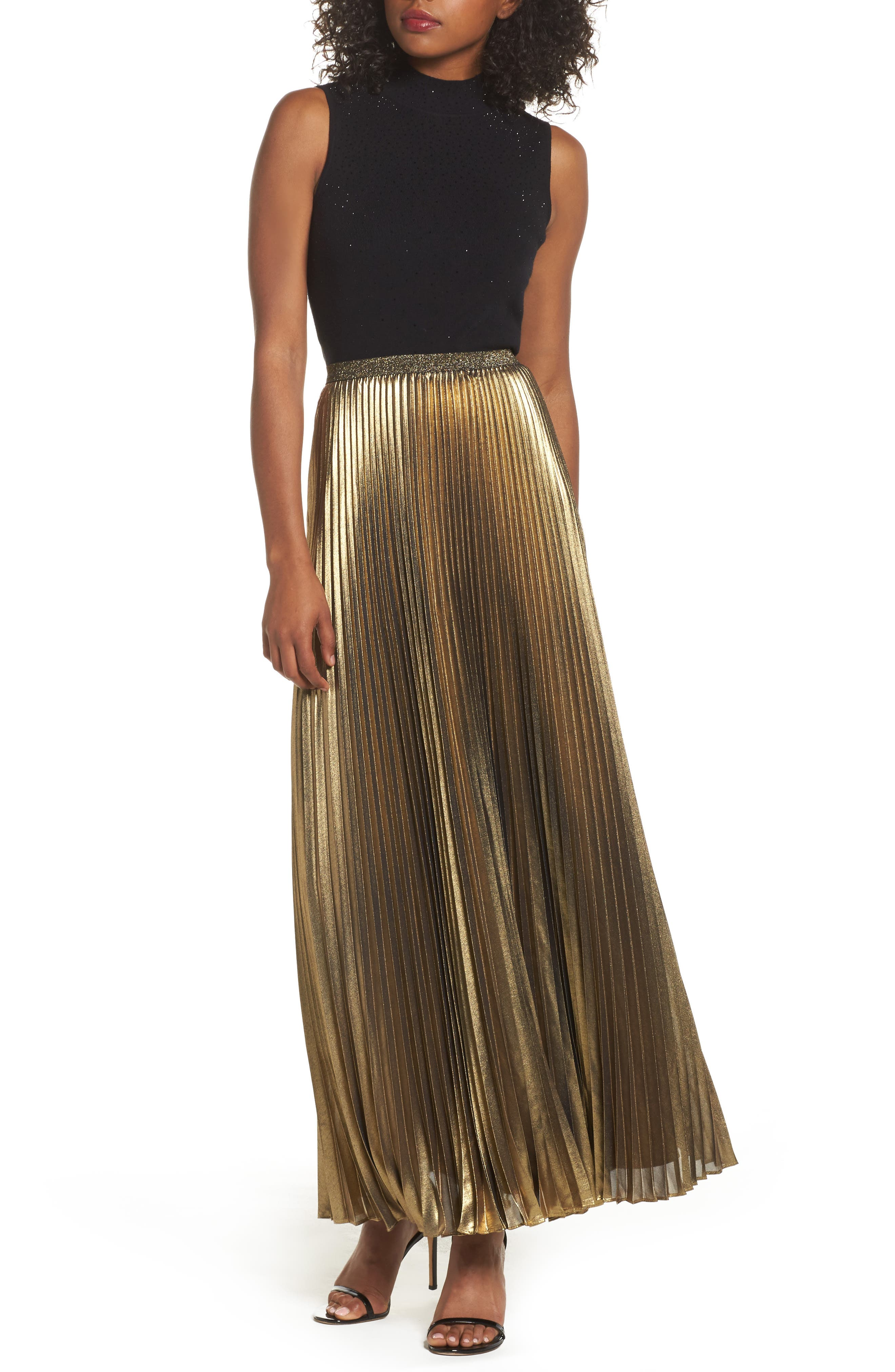 Eliza J Metallic Pleat Maxi Skirt