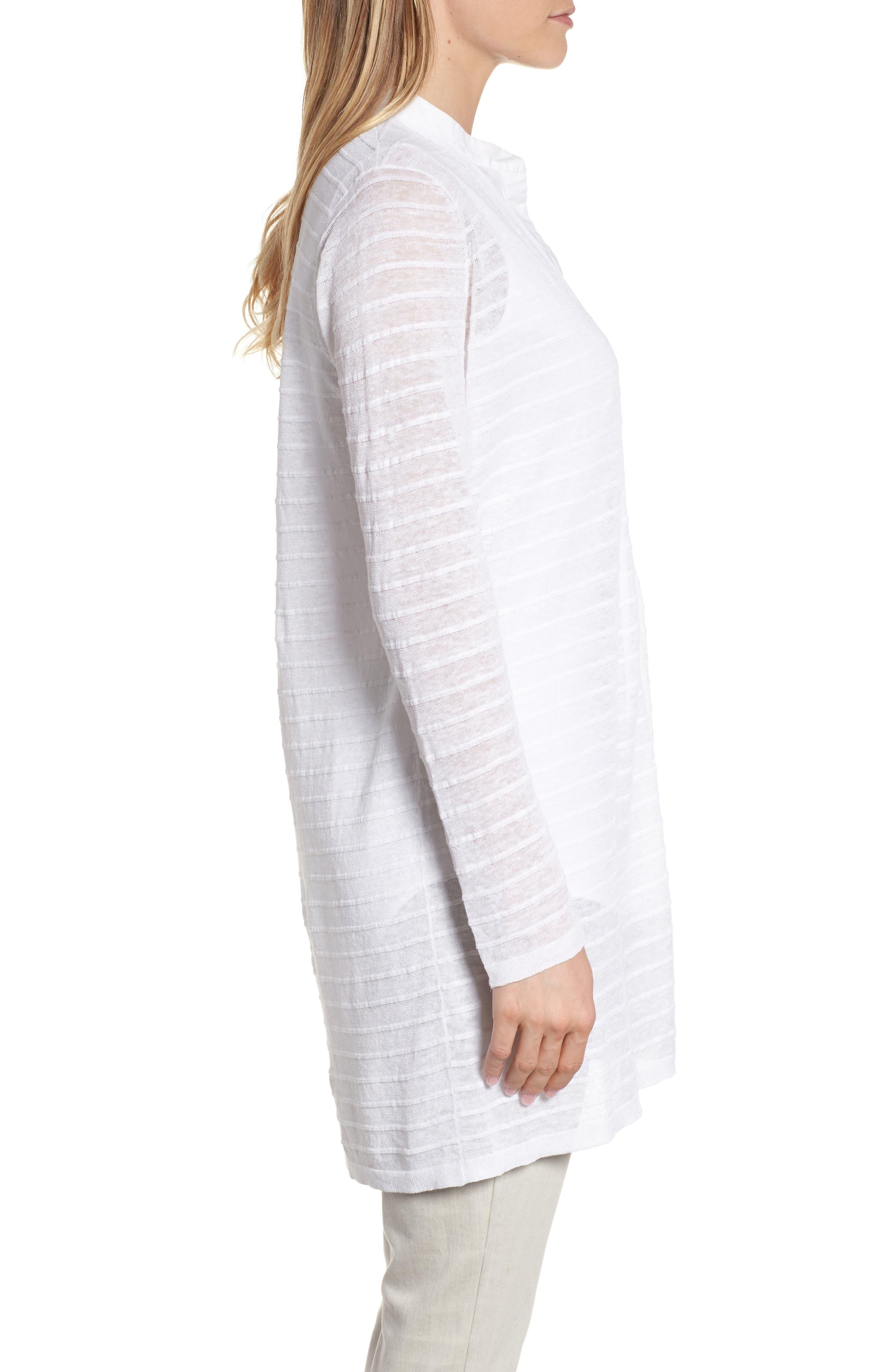 Alternate Image 3  - Eileen Fisher Long Organic Linen Blend Jacquard Cardigan
