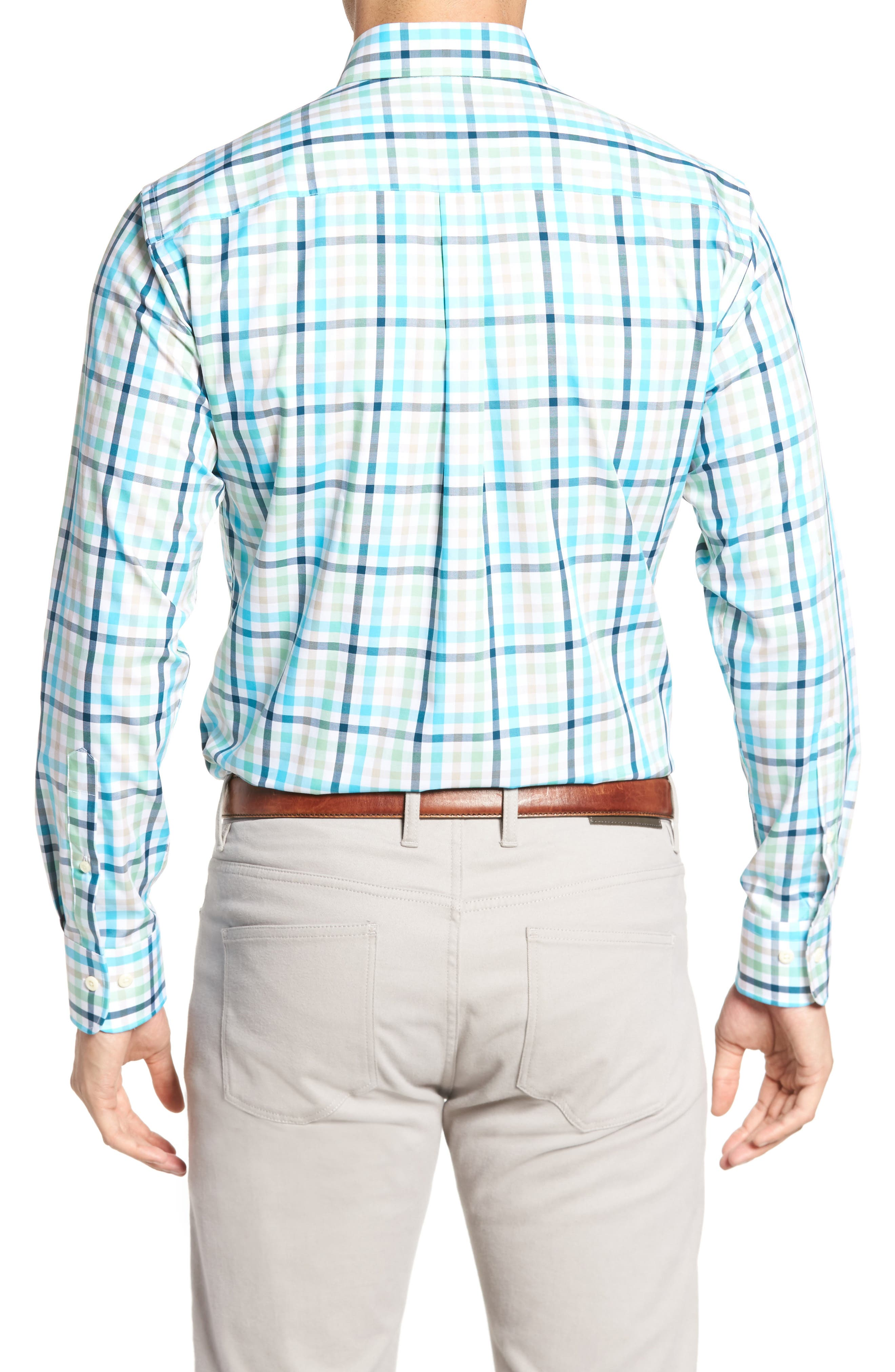 Classic Fit Crown Ease Kohala Check Sport Shirt,                             Alternate thumbnail 2, color,                             Blue Fish