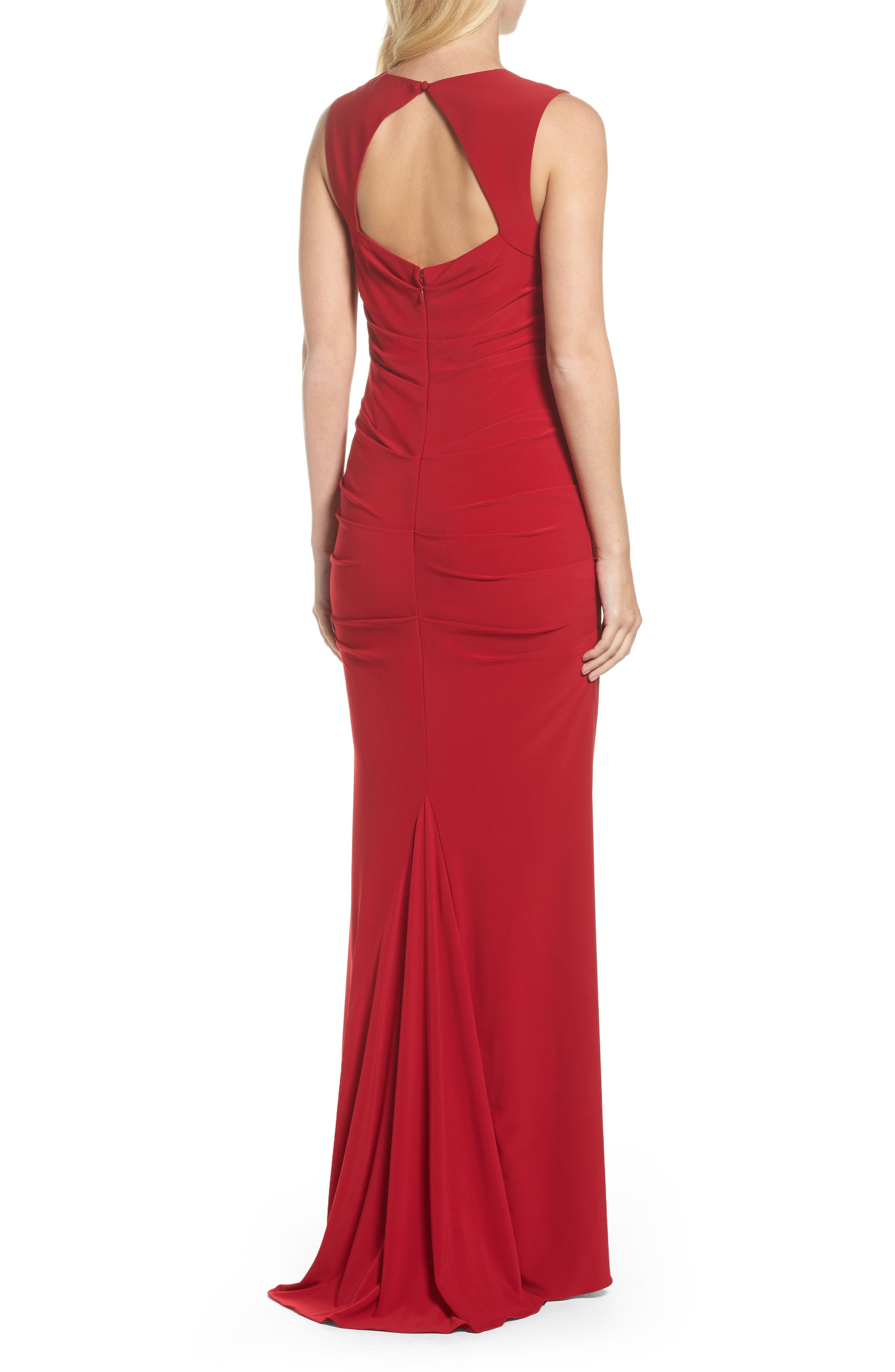 Square Neck Ruched Gown,                             Alternate thumbnail 2, color,                             Cardinal