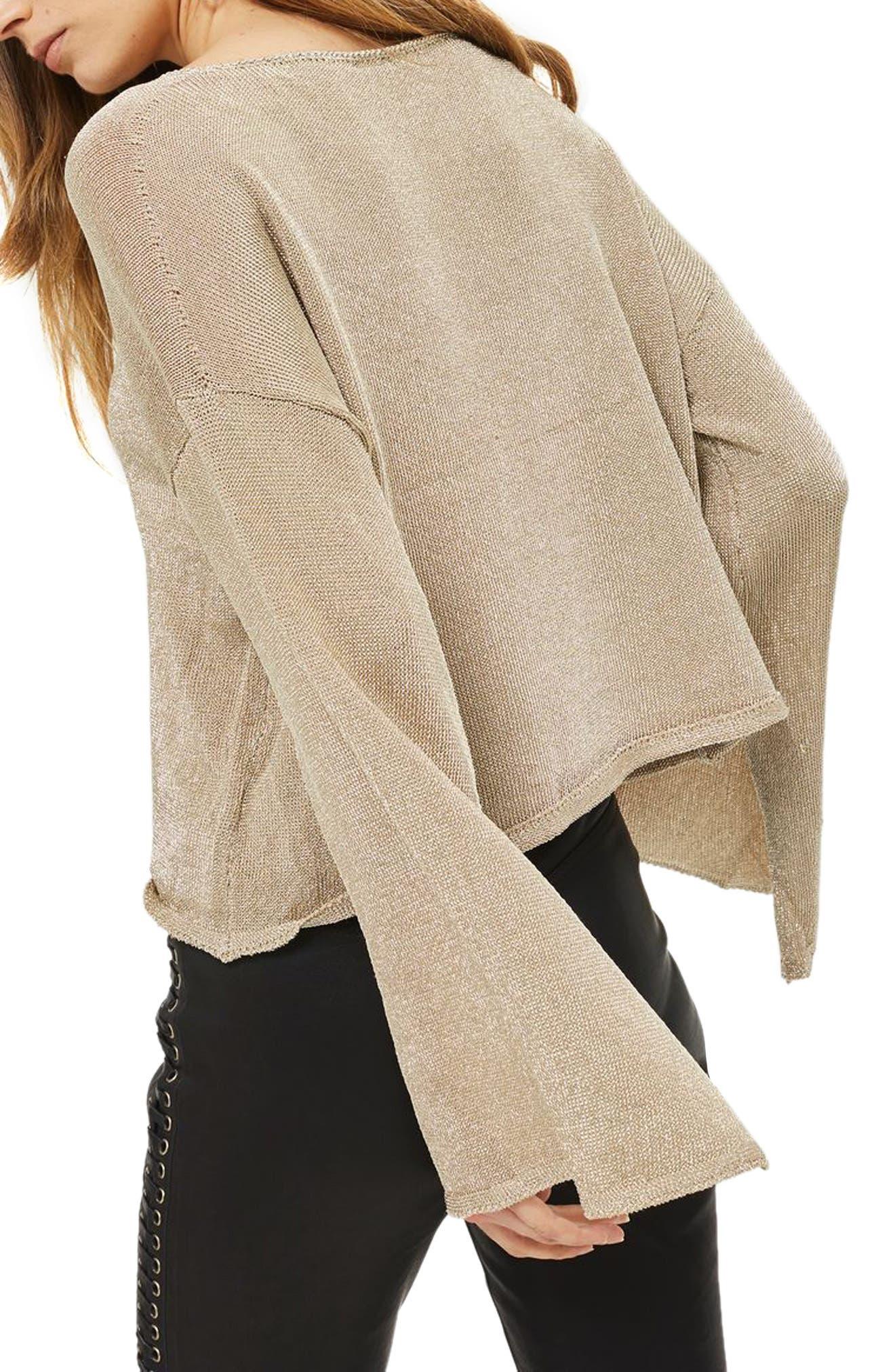 Metallic Flute Sleeve Crop Sweater,                             Alternate thumbnail 3, color,                             Gold