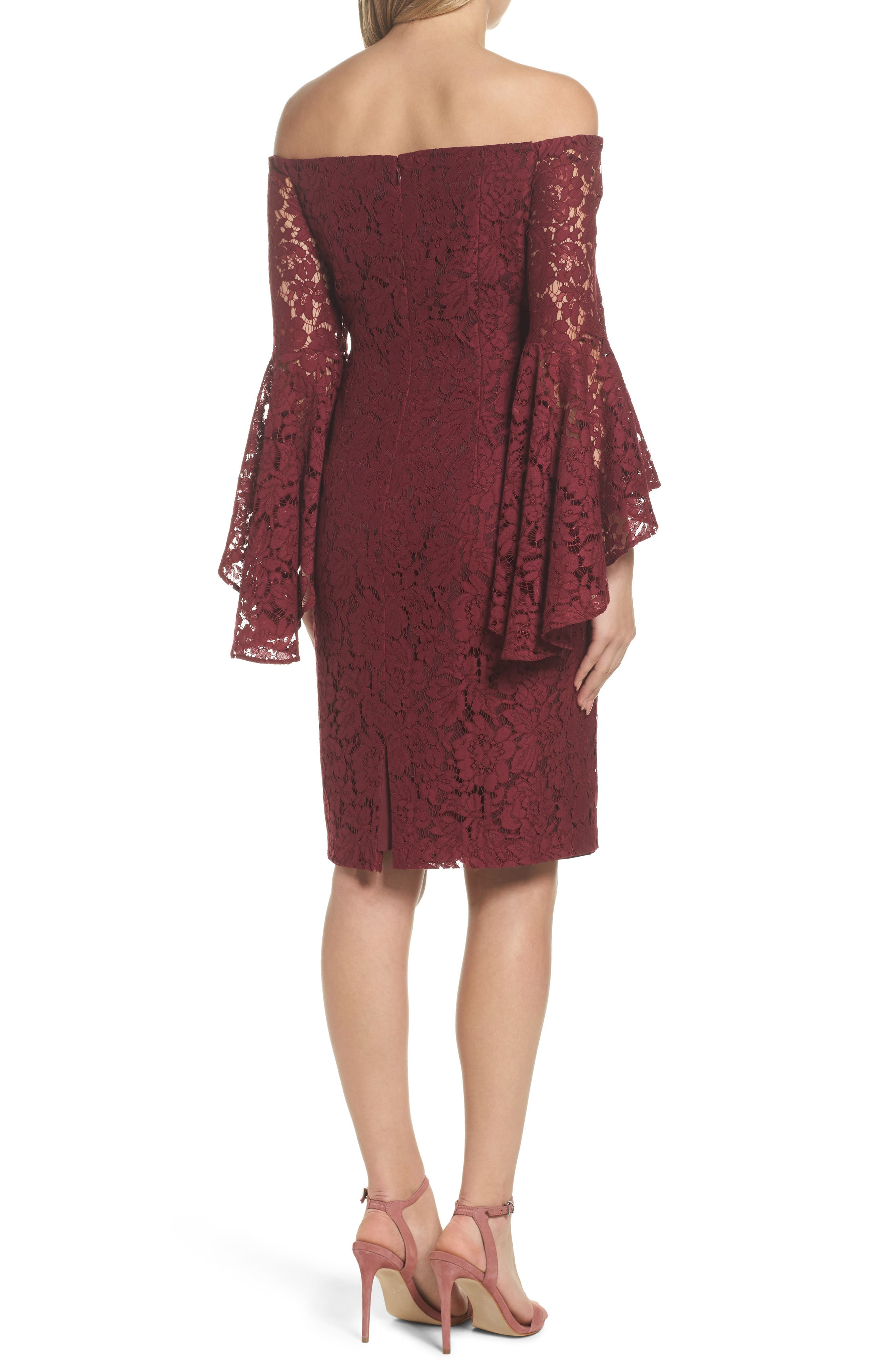 Off the Shoulder Lace Dress,                             Alternate thumbnail 2, color,                             Burgundy London