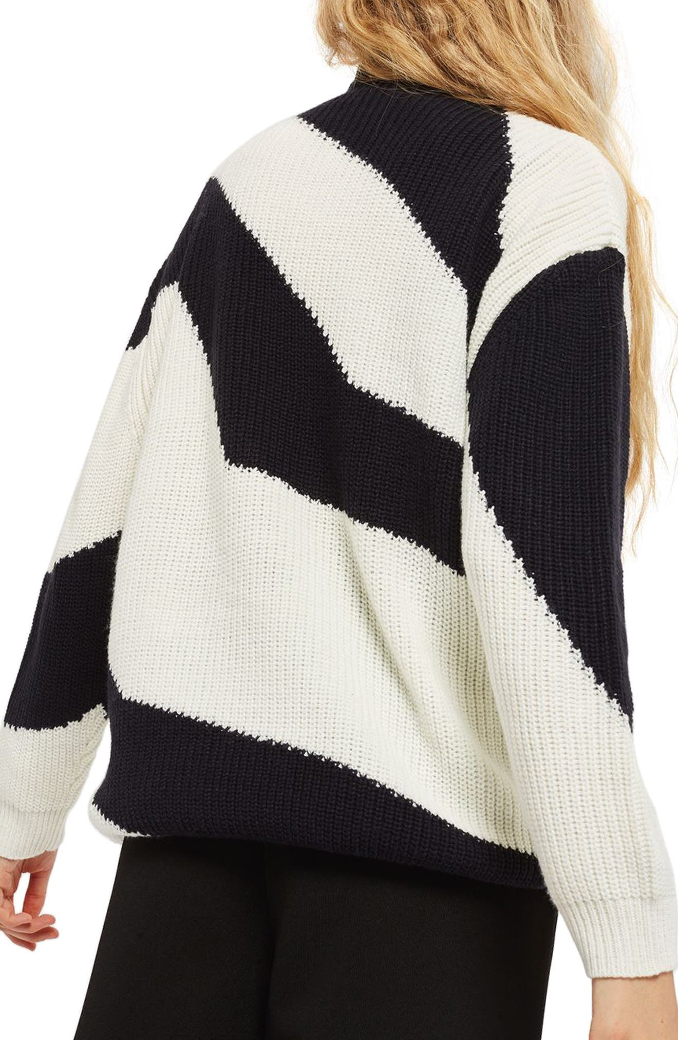 Patterned Funnel Neck Sweater,                             Alternate thumbnail 3, color,                             Navy Blue Multi