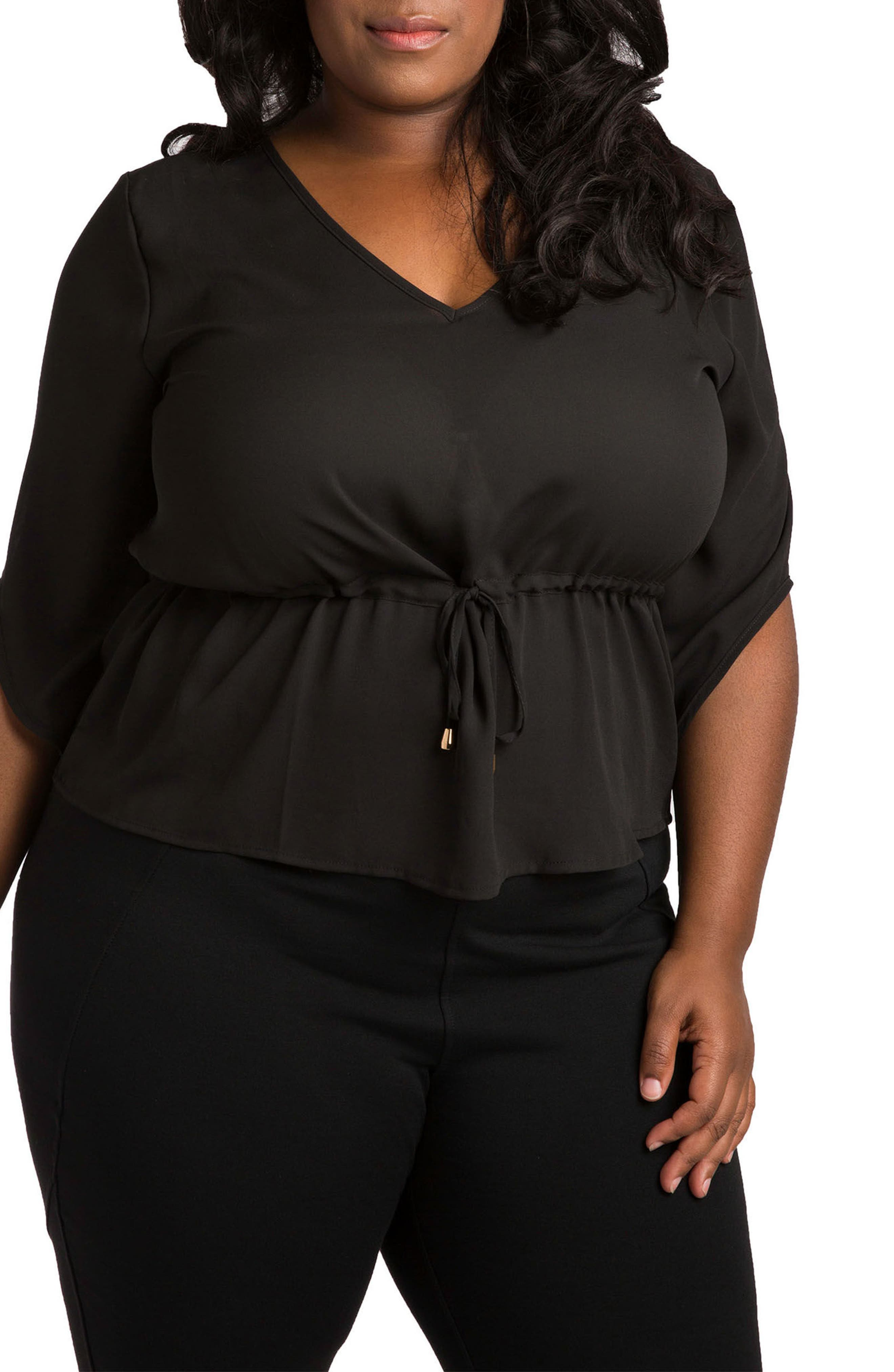 Poetic Justice Maggie Drawstring Waist Chiffon Top (Plus Size)