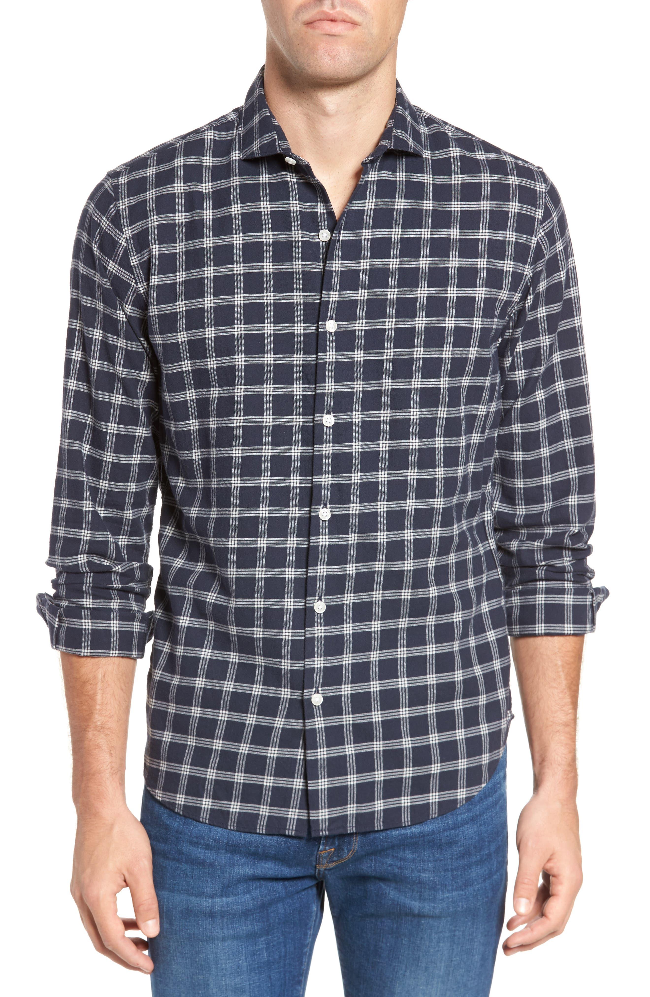 Unbutton Down Slim Fit Check Sport Shirt,                         Main,                         color, Keene Plaid