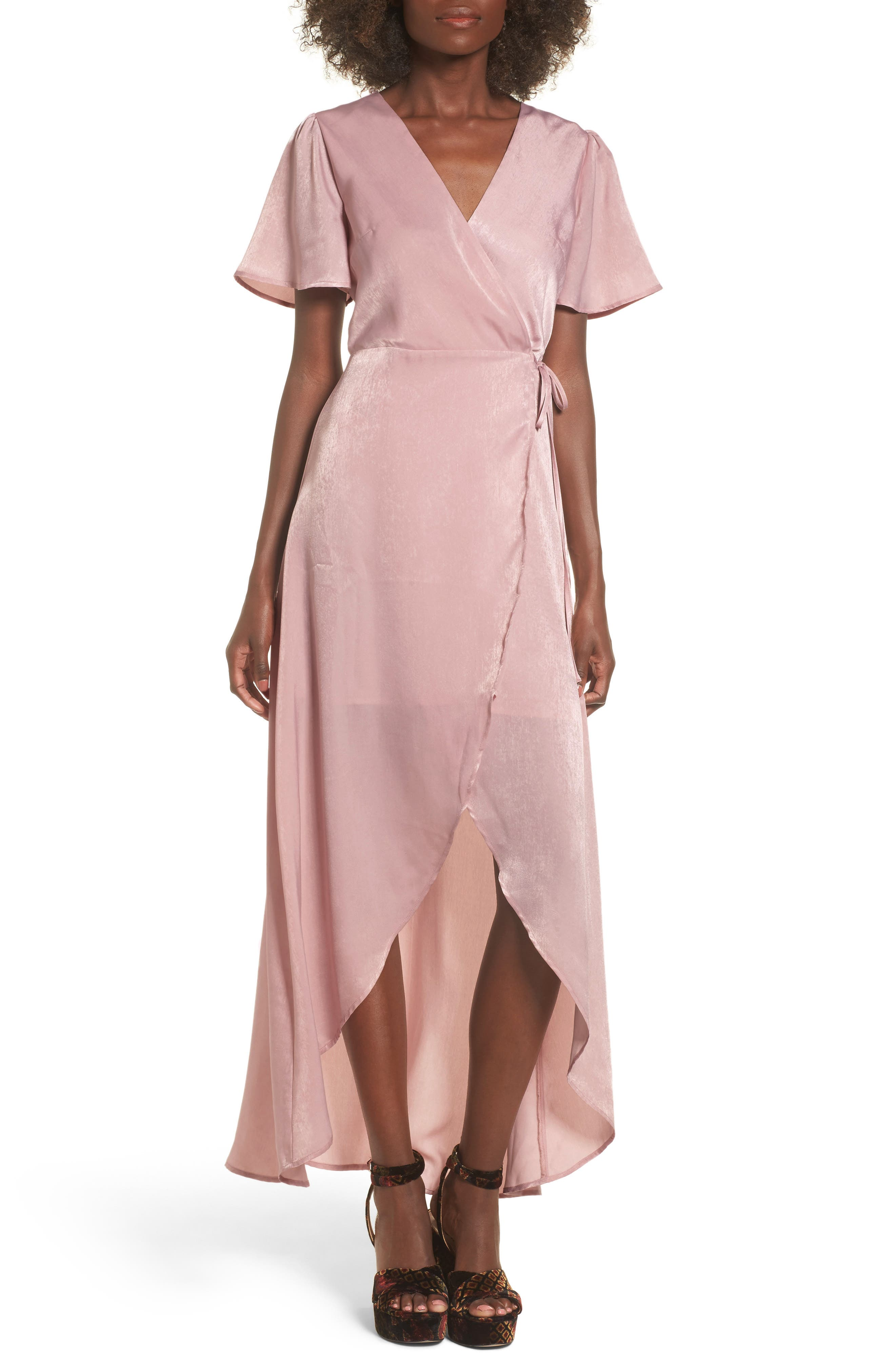 Wrap Maxi Dress,                             Main thumbnail 1, color,                             Ballet Pink