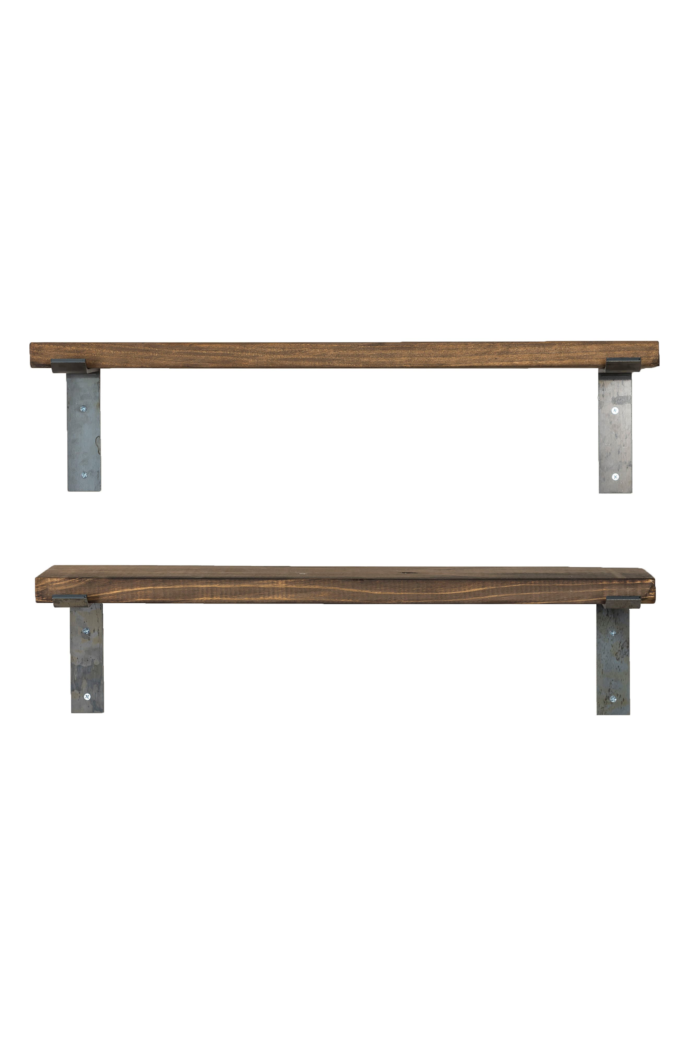 Set of 2 Industrial Bracket Shelves,                             Main thumbnail 1, color,                             Dark Walnut