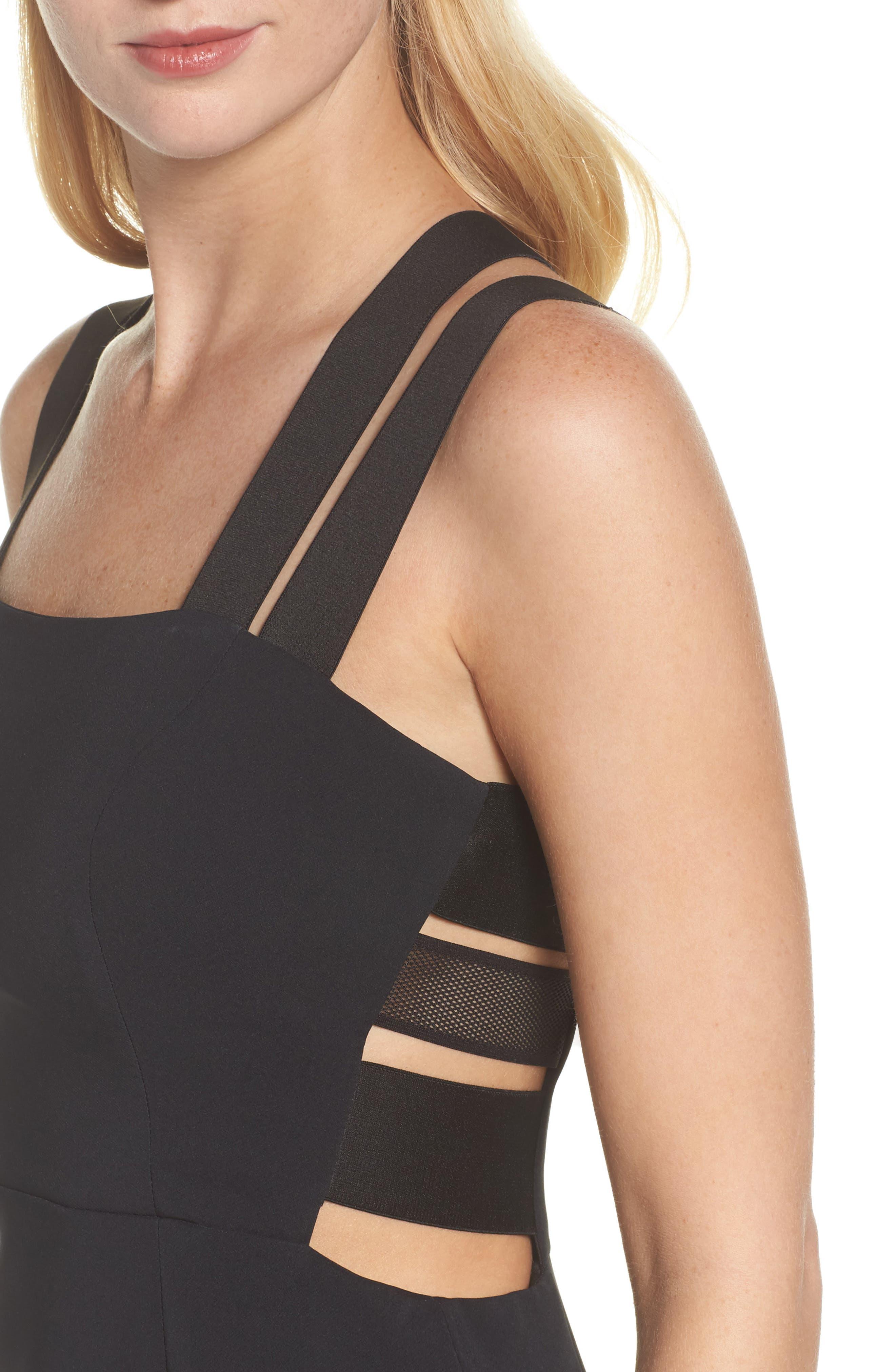 Krista Elastic Strap Cutout Gown,                             Alternate thumbnail 4, color,                             Black