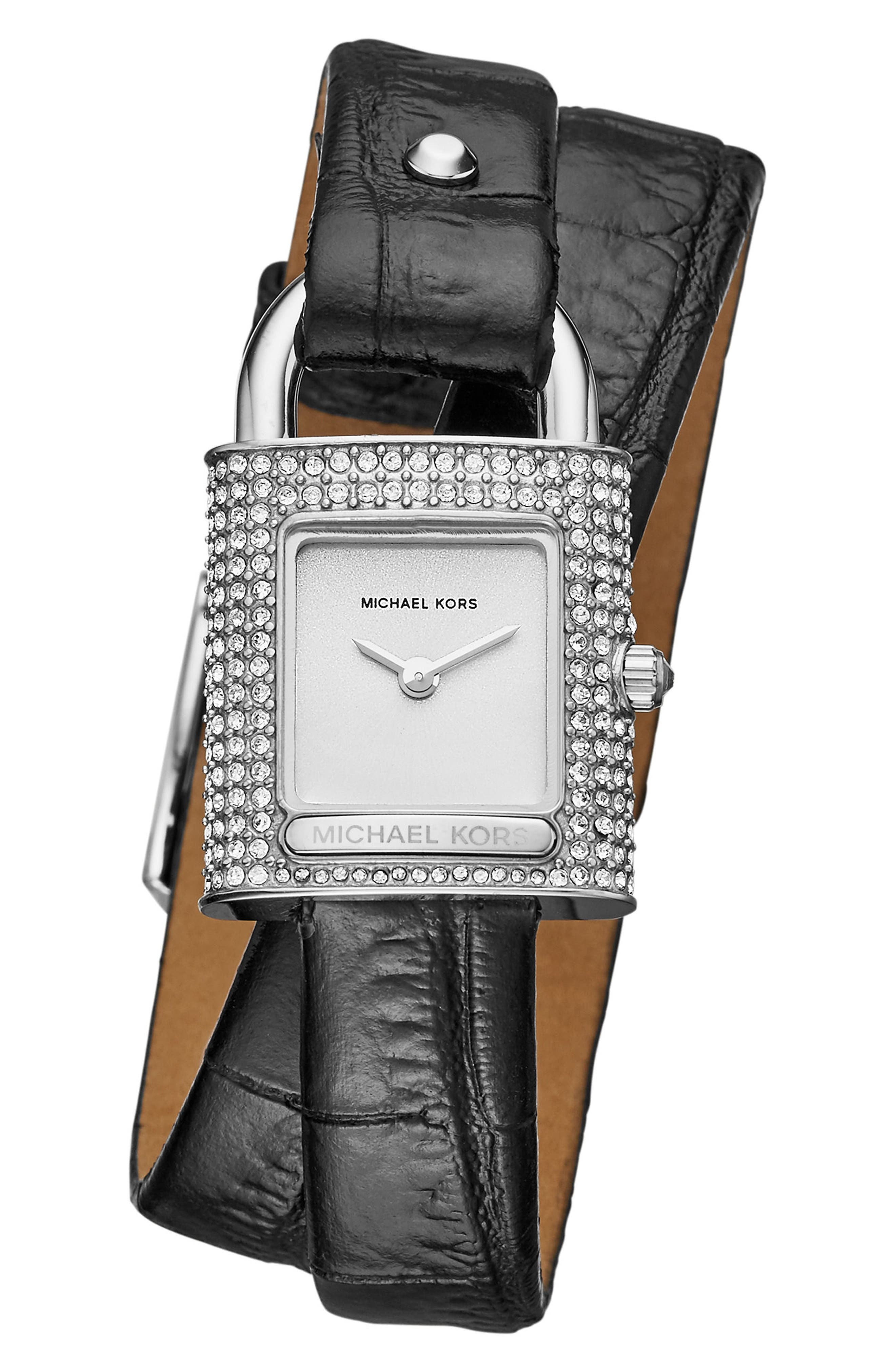 Isadore Double Wrap Leather Strap Watch, 28mm,                         Main,                         color, Black/ Silver