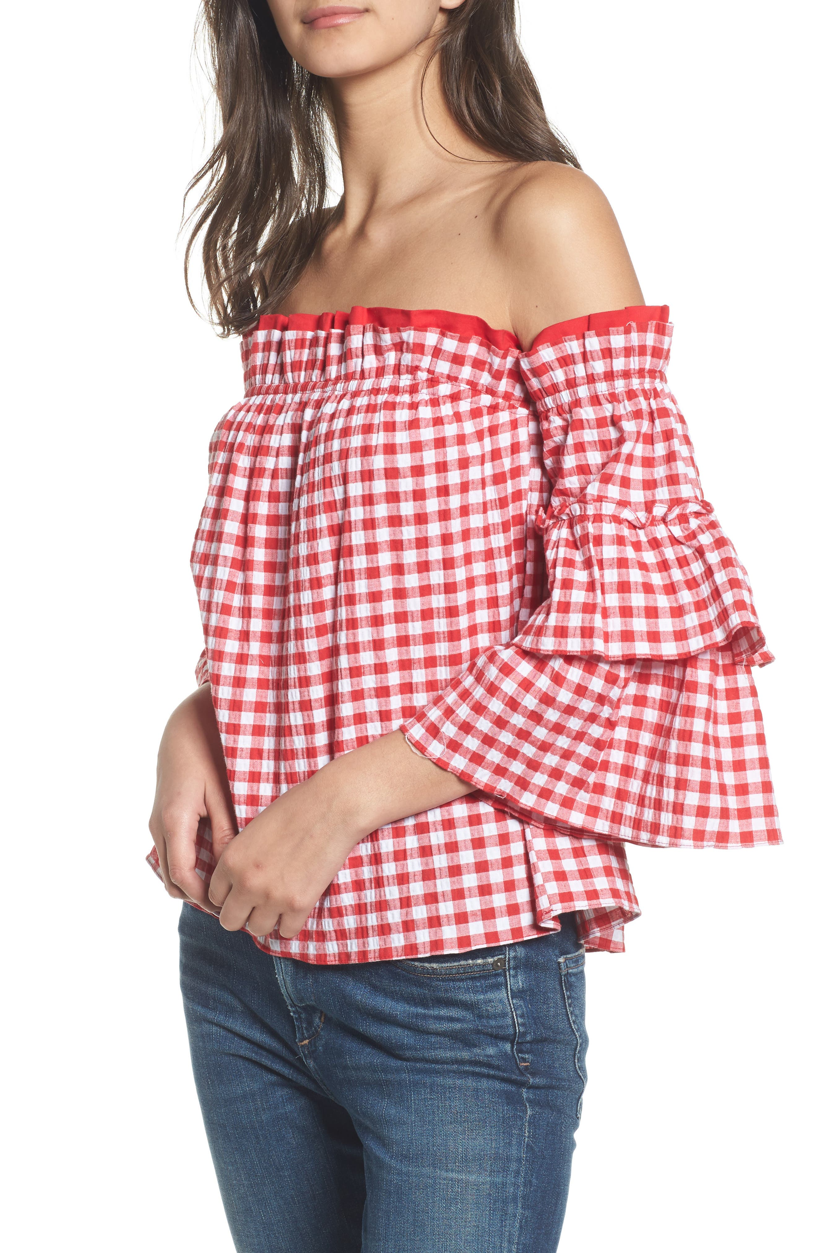 Sabina Off the Shoulder Top,                             Main thumbnail 1, color,                             Red/ White Multi
