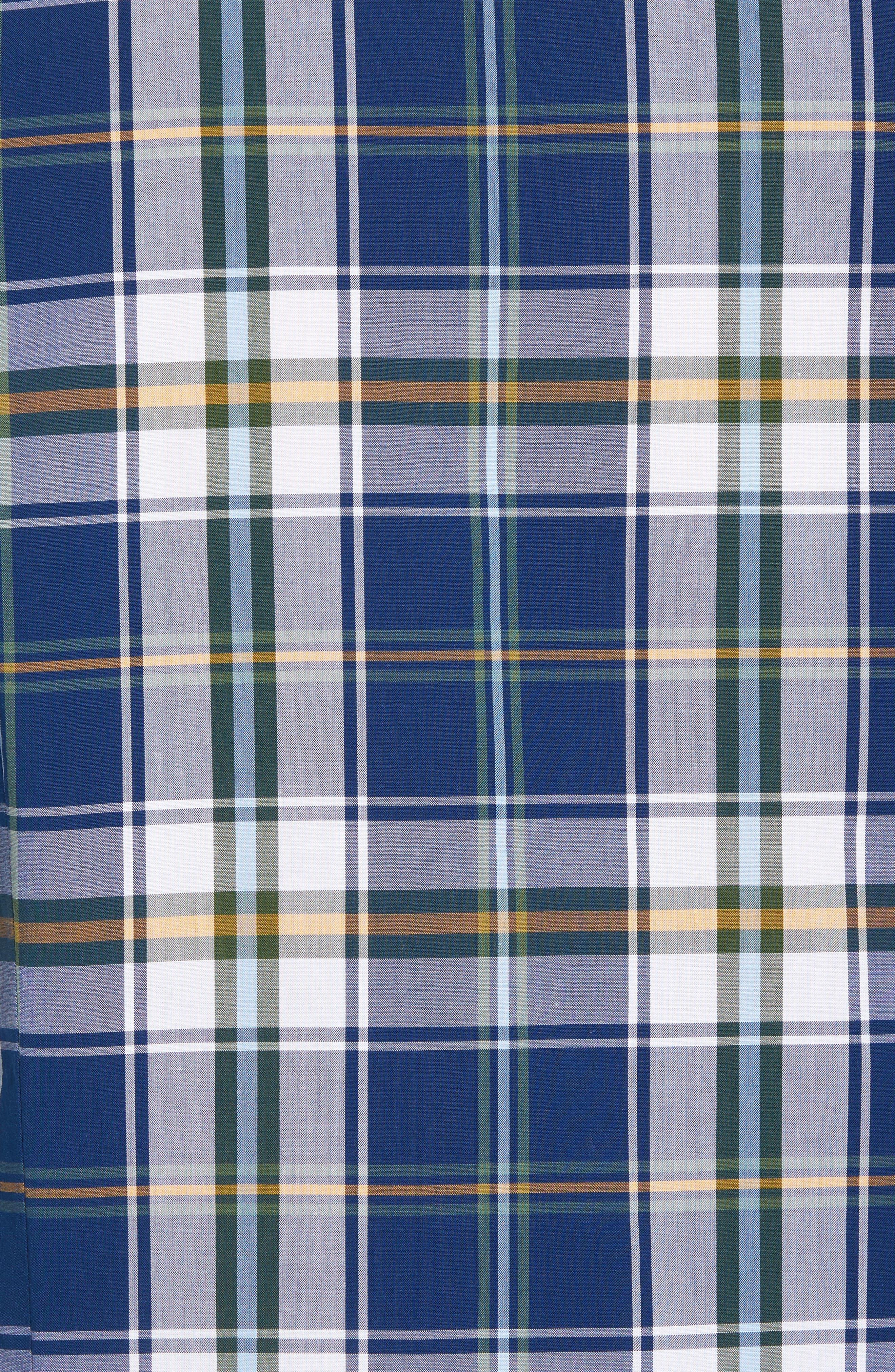 Jeff Trim Fit Plaid Sport Shirt,                             Alternate thumbnail 5, color,                             Deep Blue