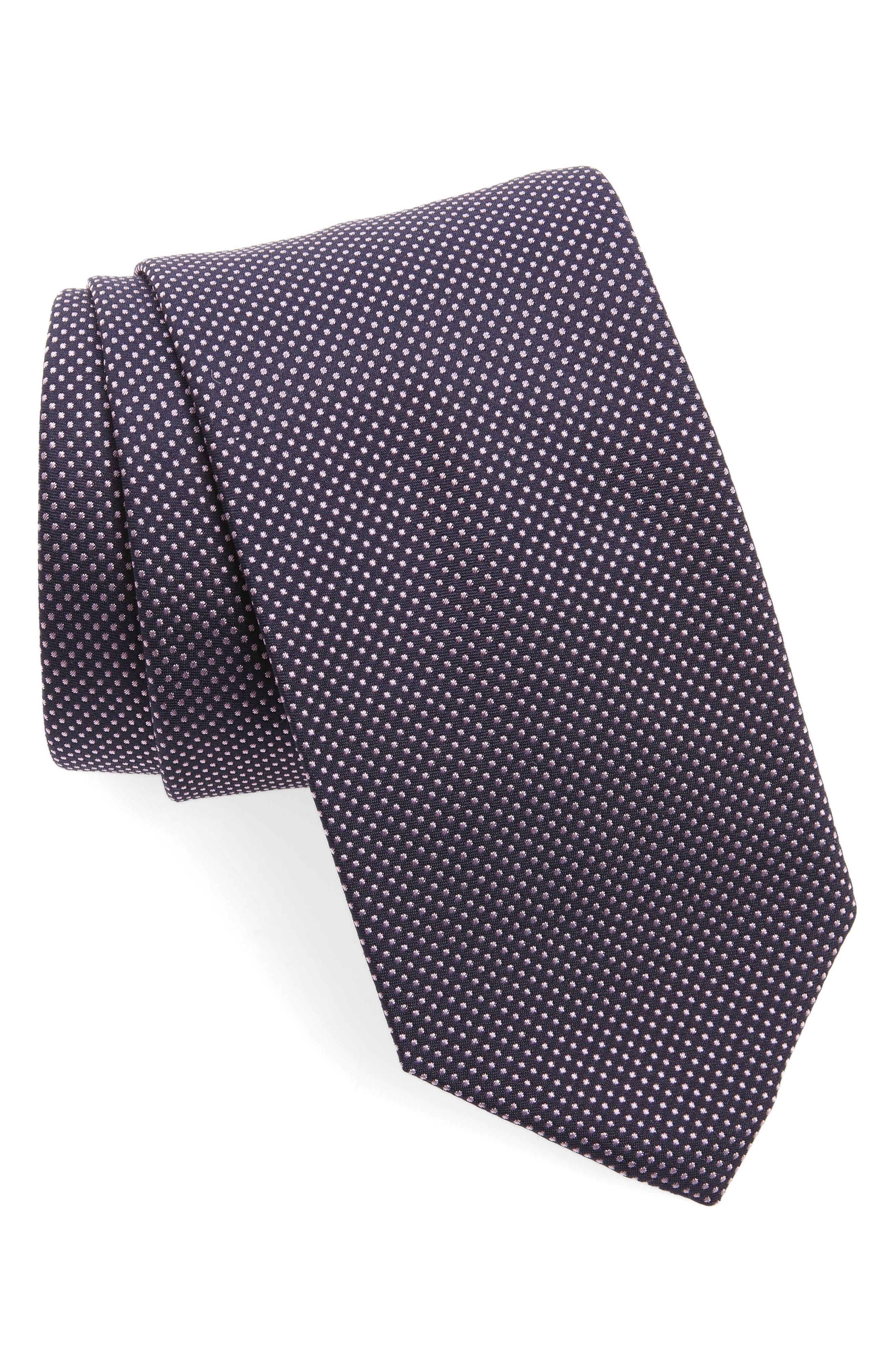 Dot Silk Tie,                             Main thumbnail 1, color,                             Pink