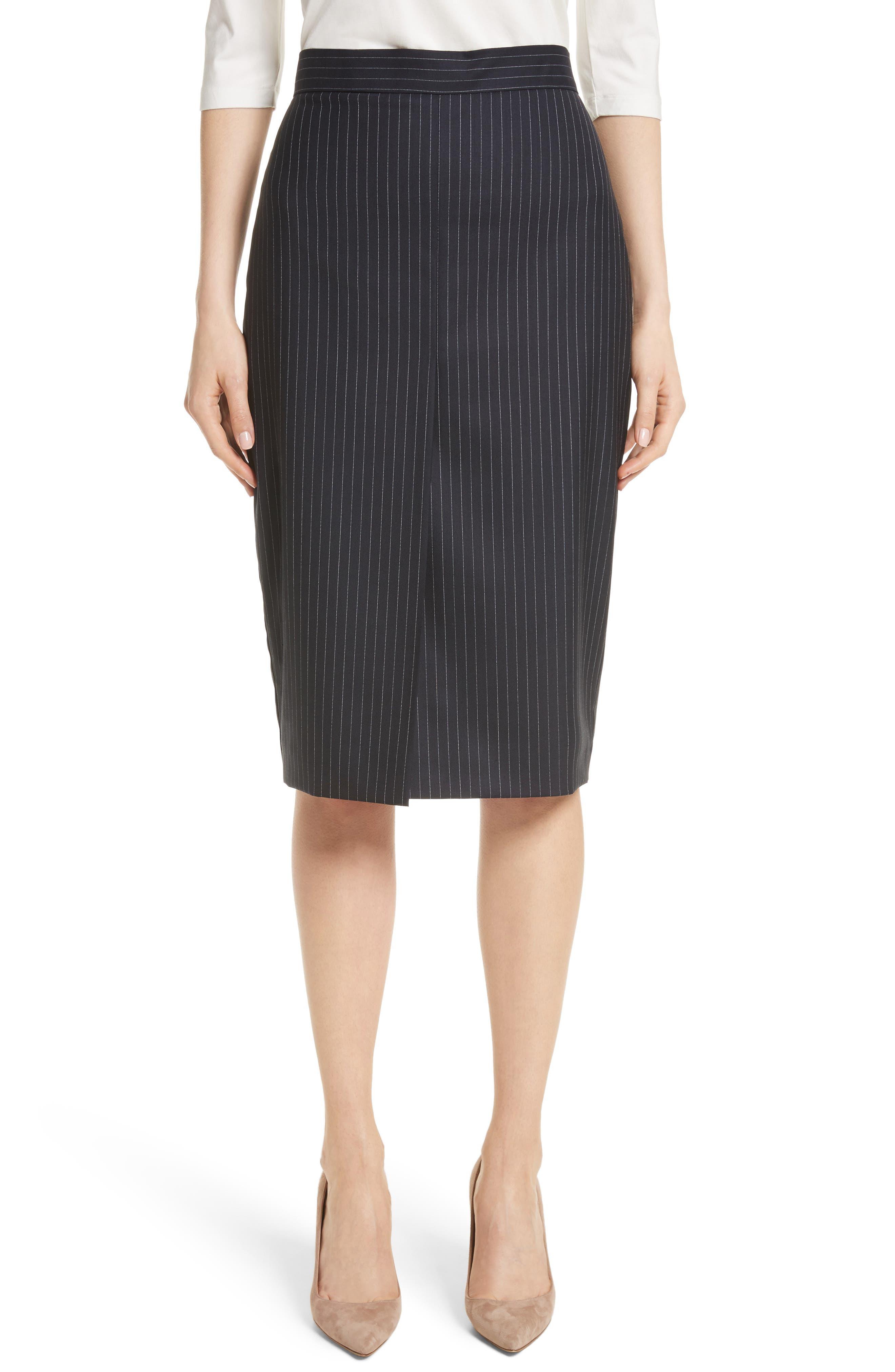 Abba Pinstripe Pencil Skirt,                         Main,                         color, Ultramarine