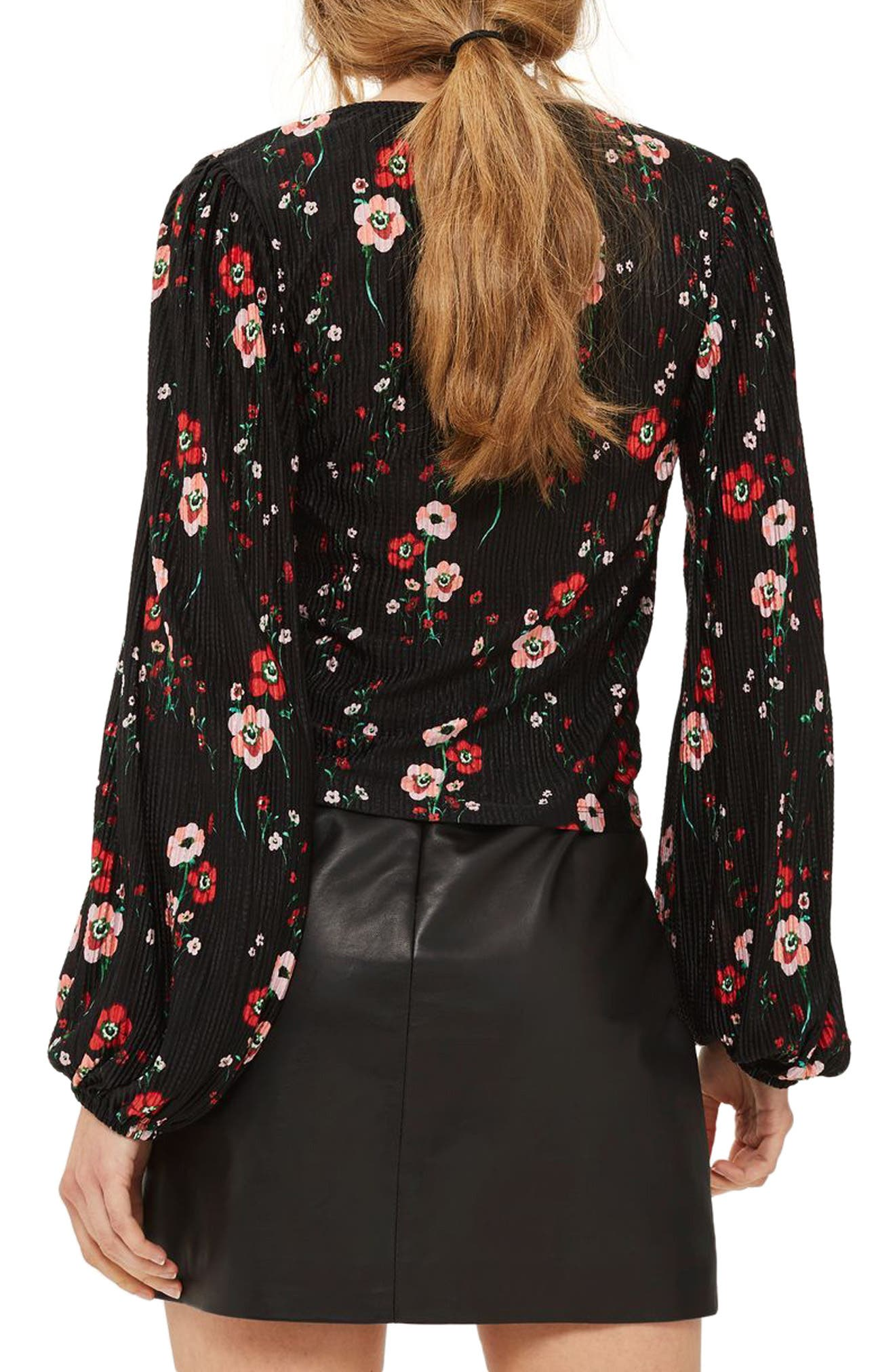Floral Bloom Blouson Top,                             Alternate thumbnail 2, color,                             Black Multi