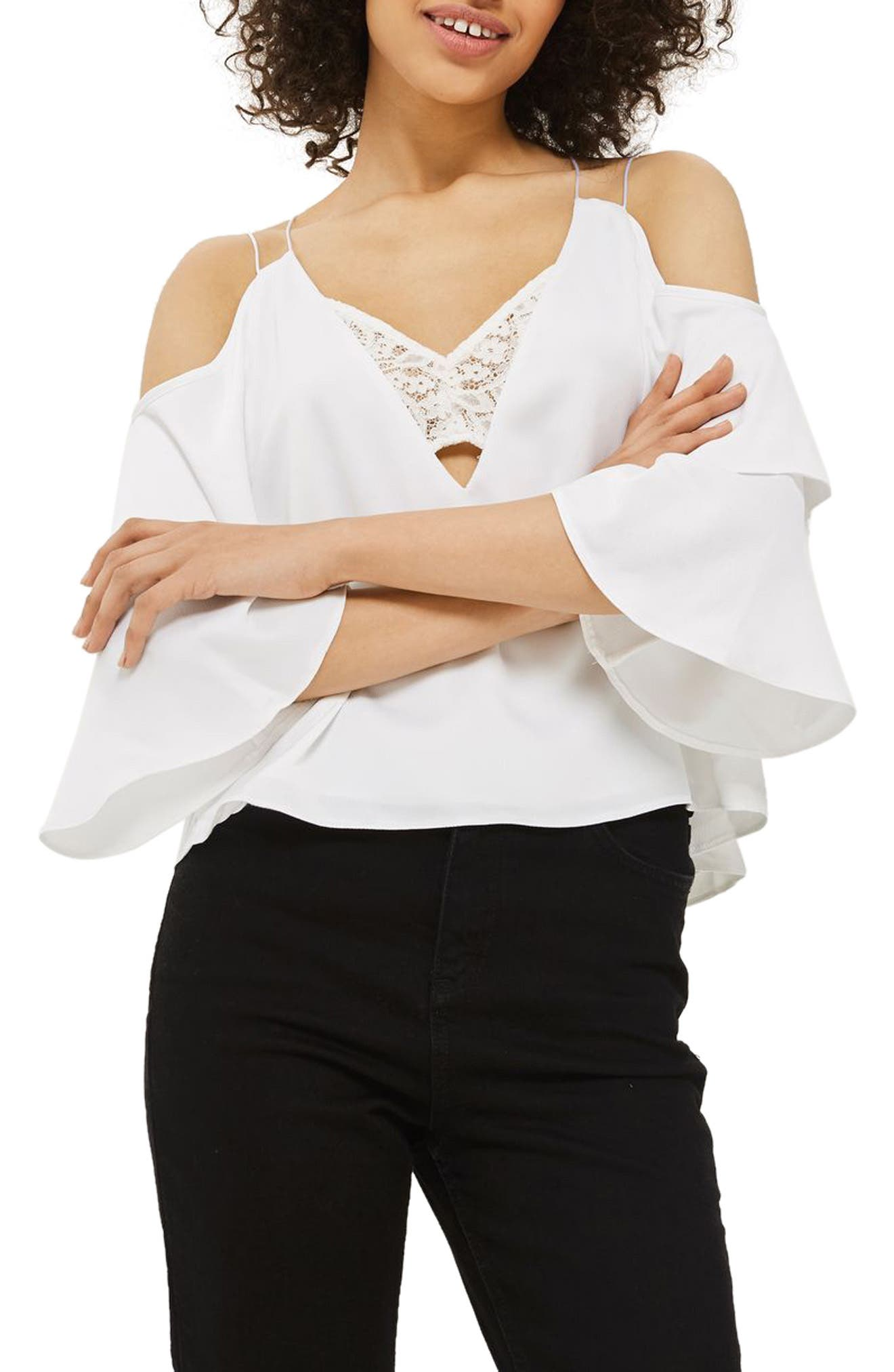 Double Sleeve Lace Camisole Top,                         Main,                         color, Ivory
