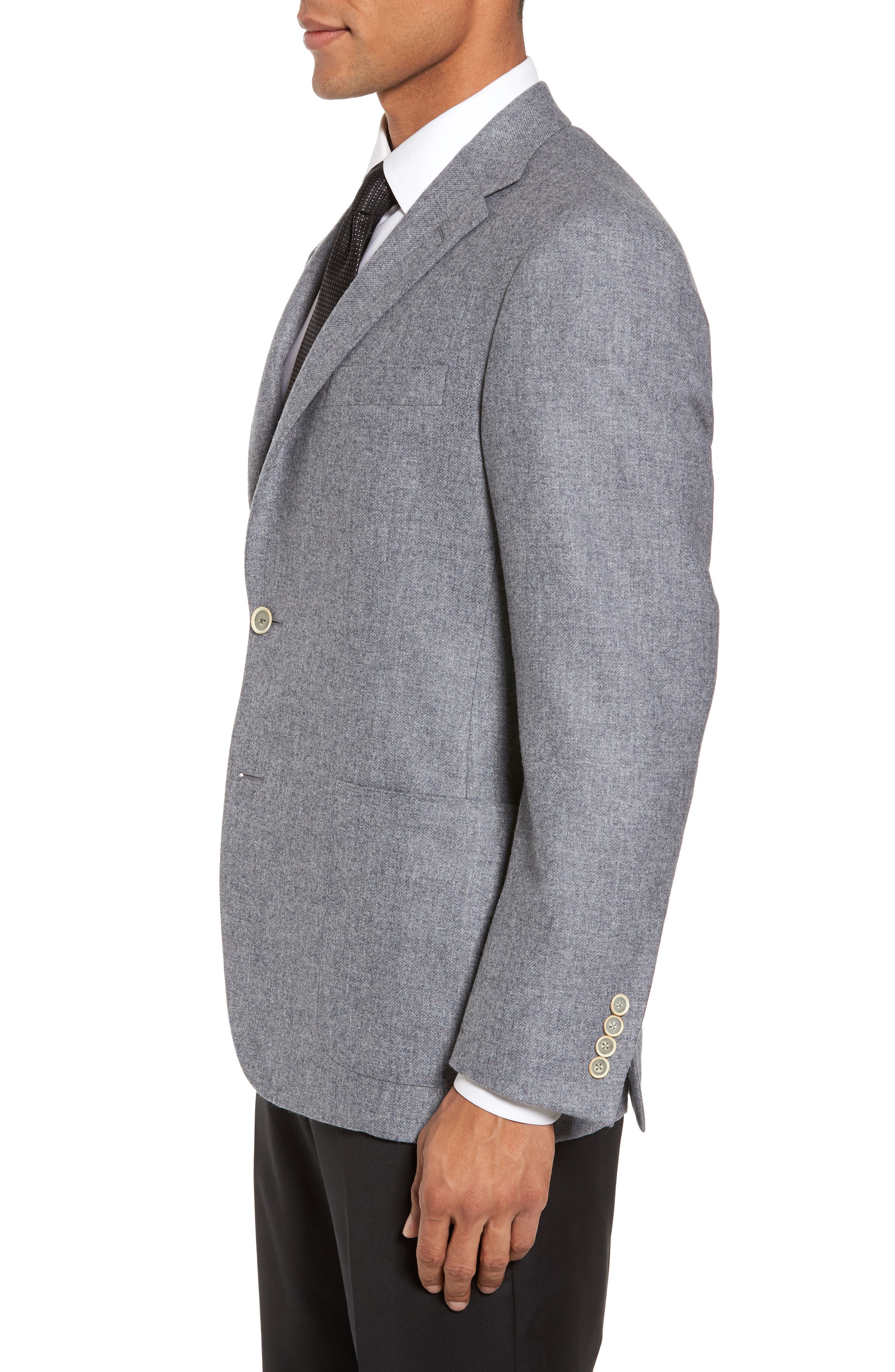 Classic B Fit Wool & Cashmere Blazer,                             Alternate thumbnail 3, color,                             Light Grey Solid