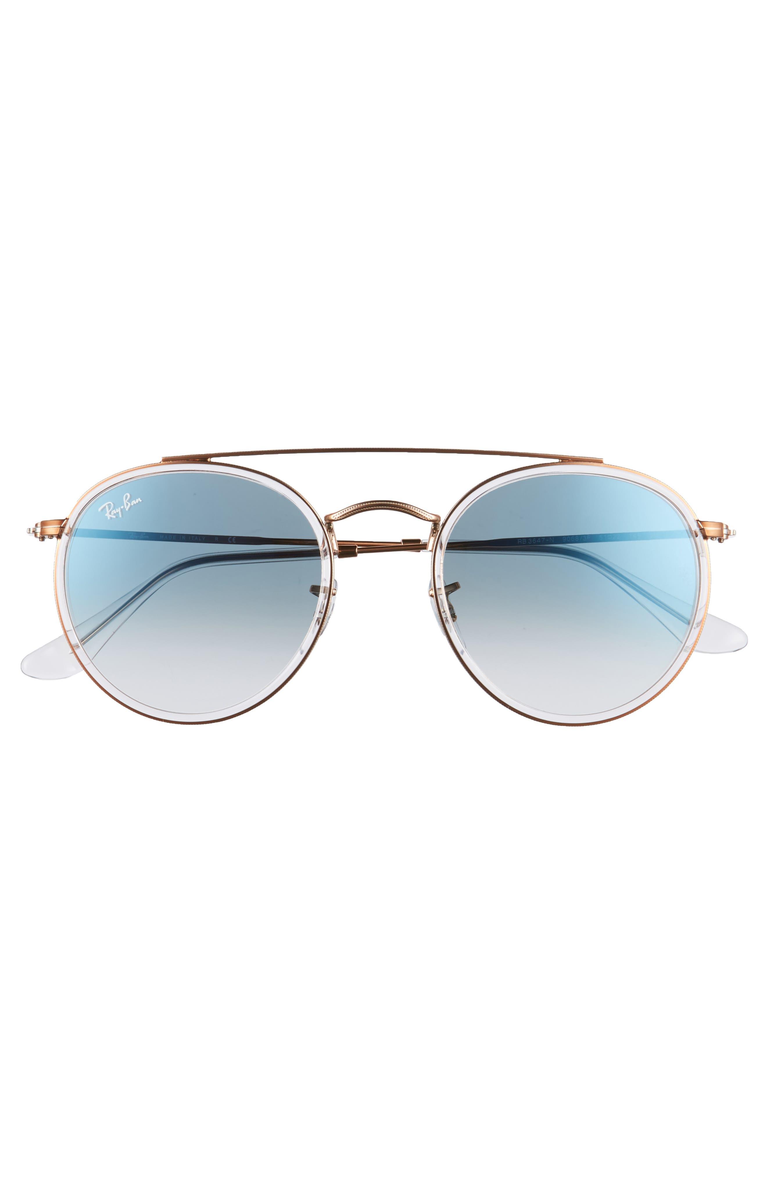 51mm Aviator Gradient Lens Sunglasses,                             Alternate thumbnail 3, color,                             Blue Transparent