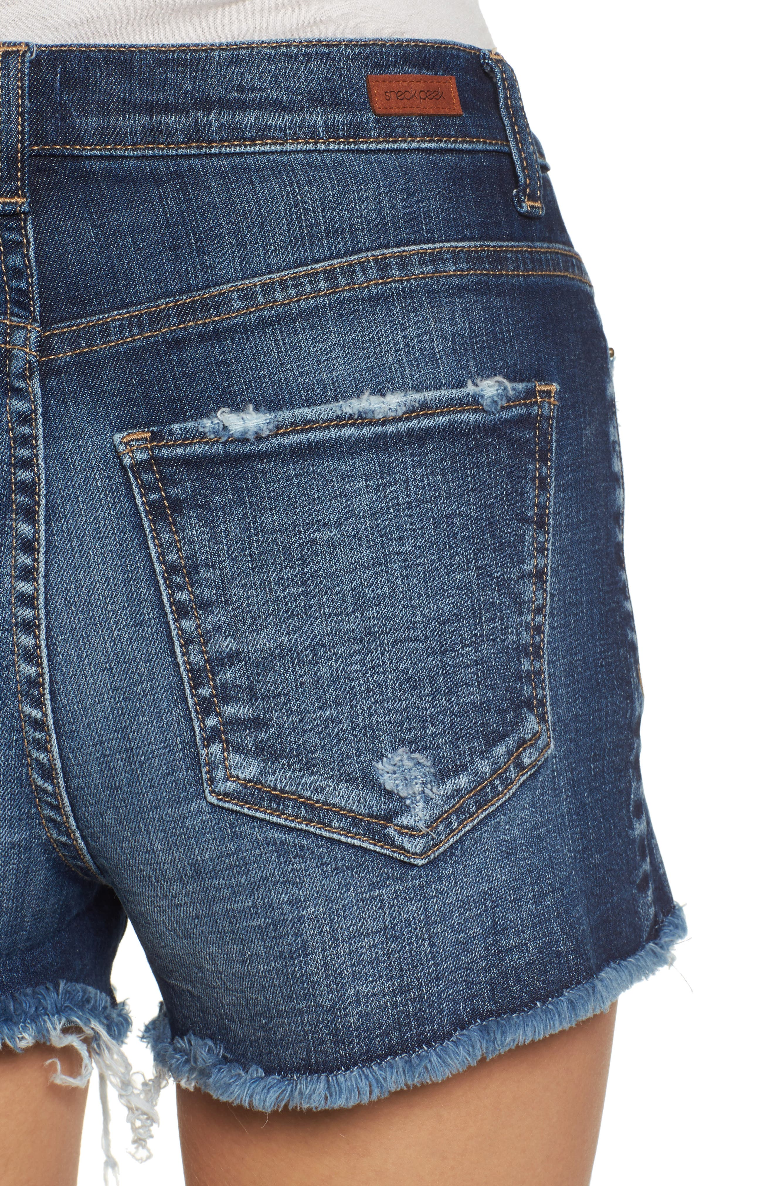 High Rise Fray Ripped Cutoff Shorts,                             Alternate thumbnail 4, color,                             Medium