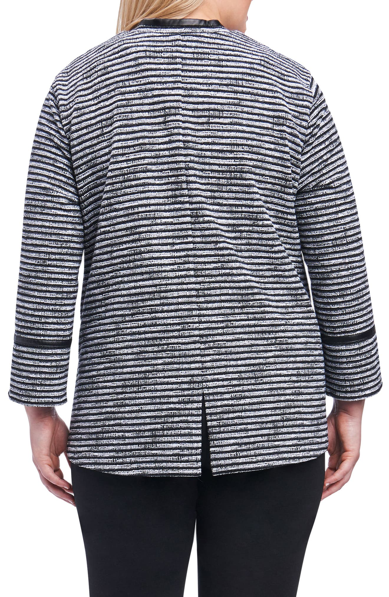 Irina Stripe Knit Jacket,                             Alternate thumbnail 2, color,                             Ivory/ Black