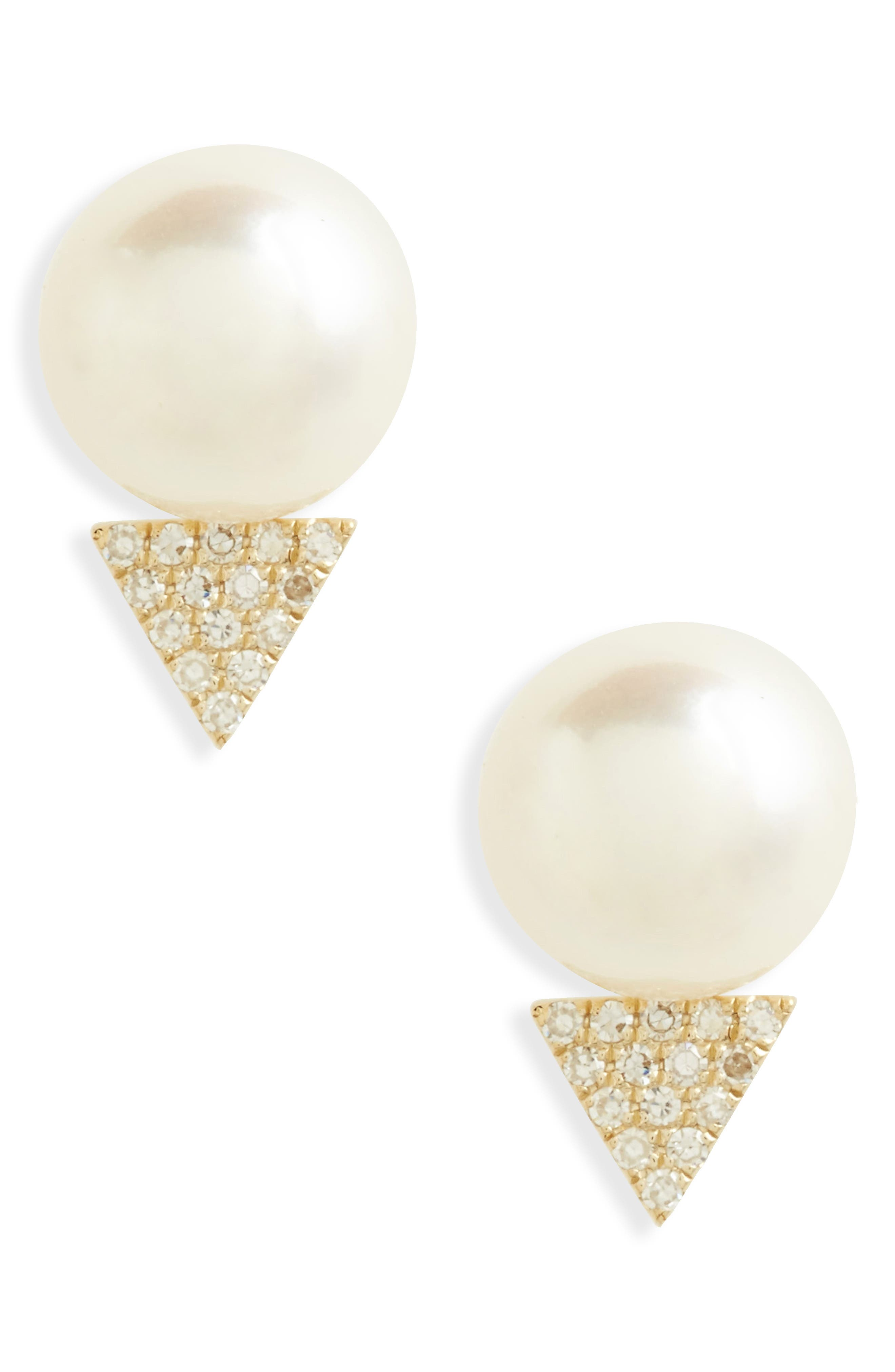 Pearl & Diamond Stud Earrings,                             Main thumbnail 1, color,                             Yellow Gold